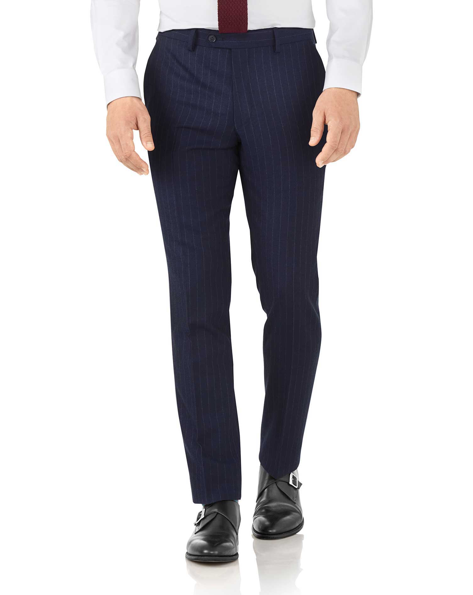 Navy stripe slim fit flannel business suit pants