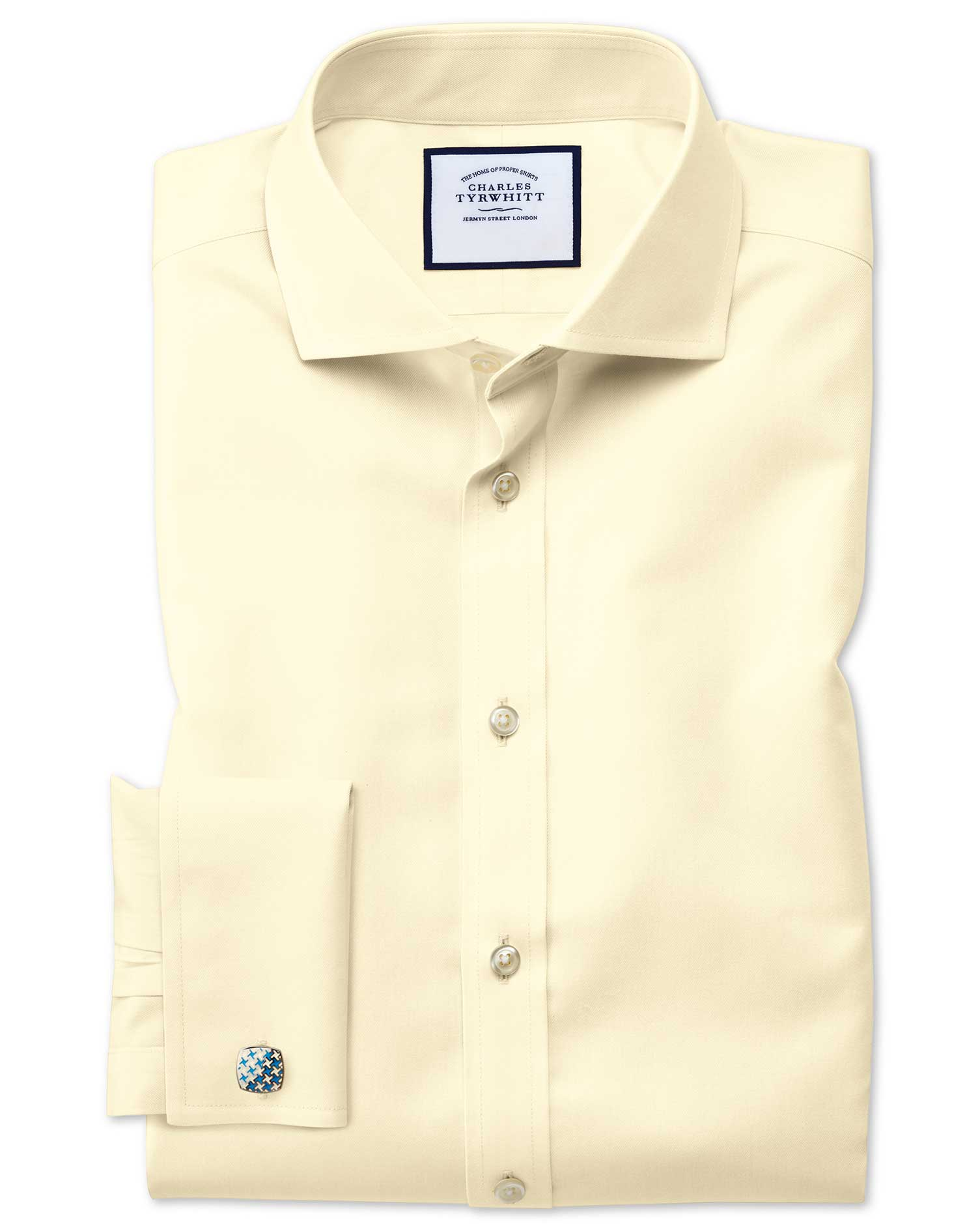 Extra Slim Fit Cutaway Collar Non-Iron Twill Yellow Cotton Formal Shirt Single Cuff Size 15/32 by Ch