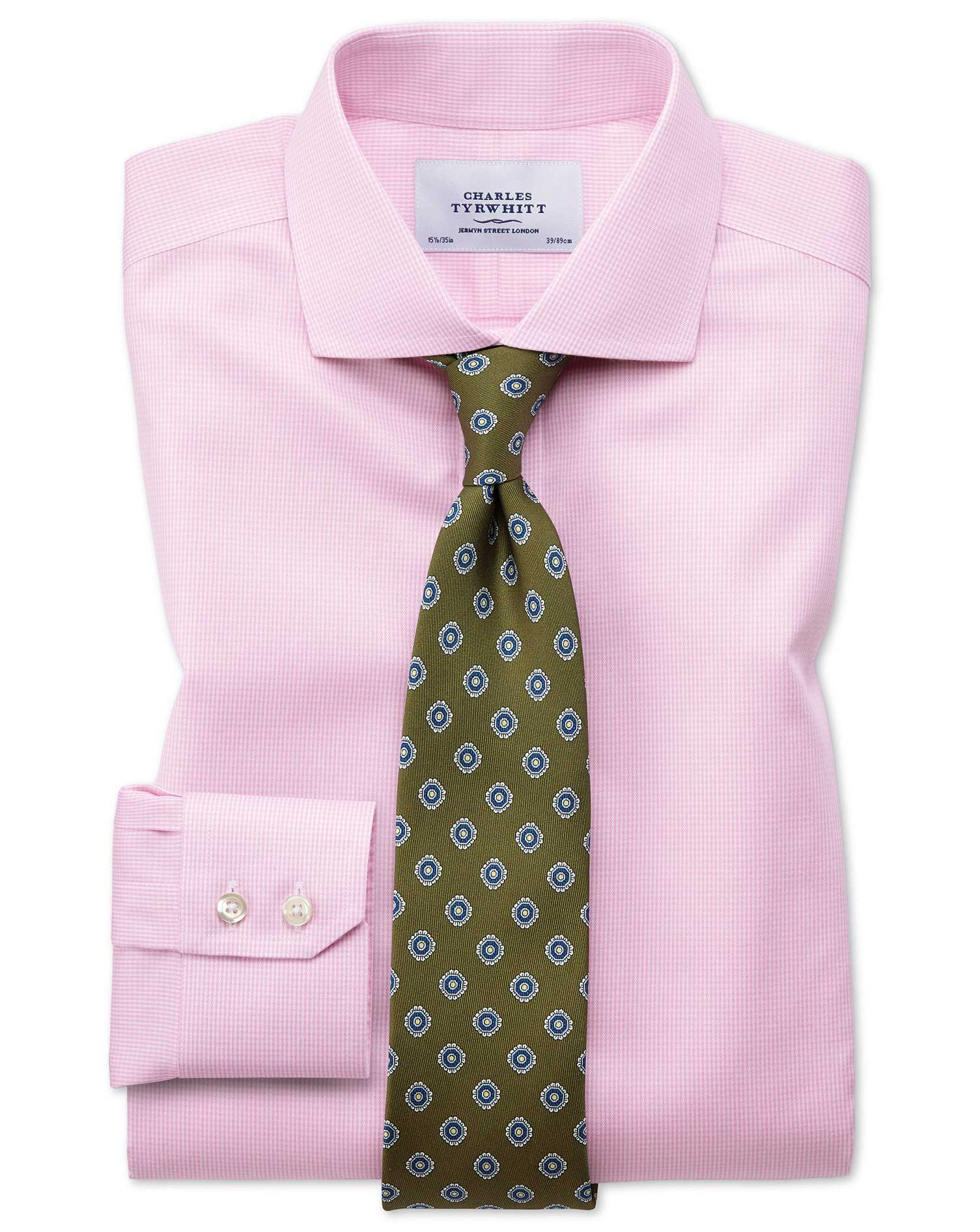 Extra slim fit spread collar non iron puppytooth light for Best extra slim fit dress shirts