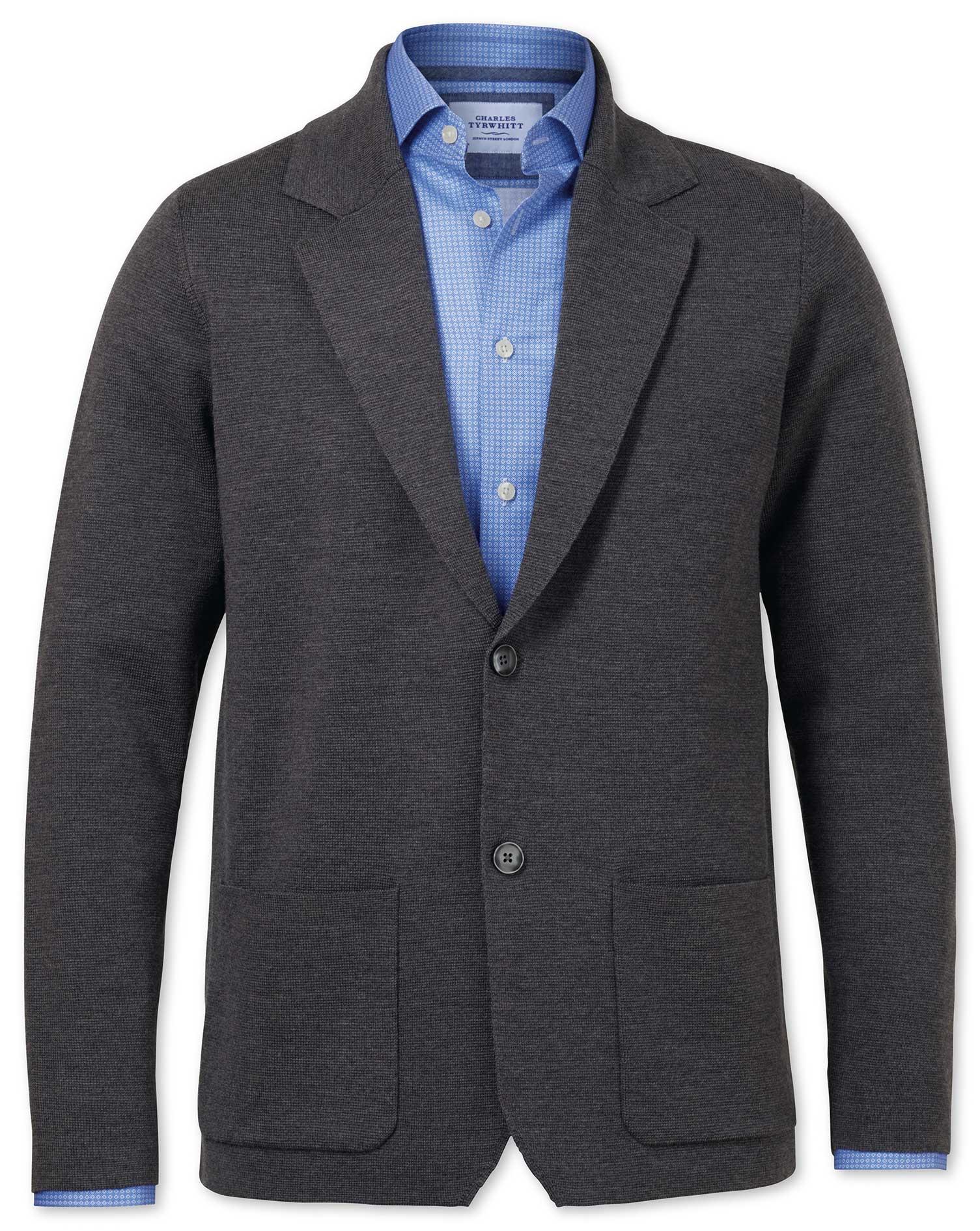 Charcoal Merino Wool Blazer Size Small by Charles Tyrwhitt