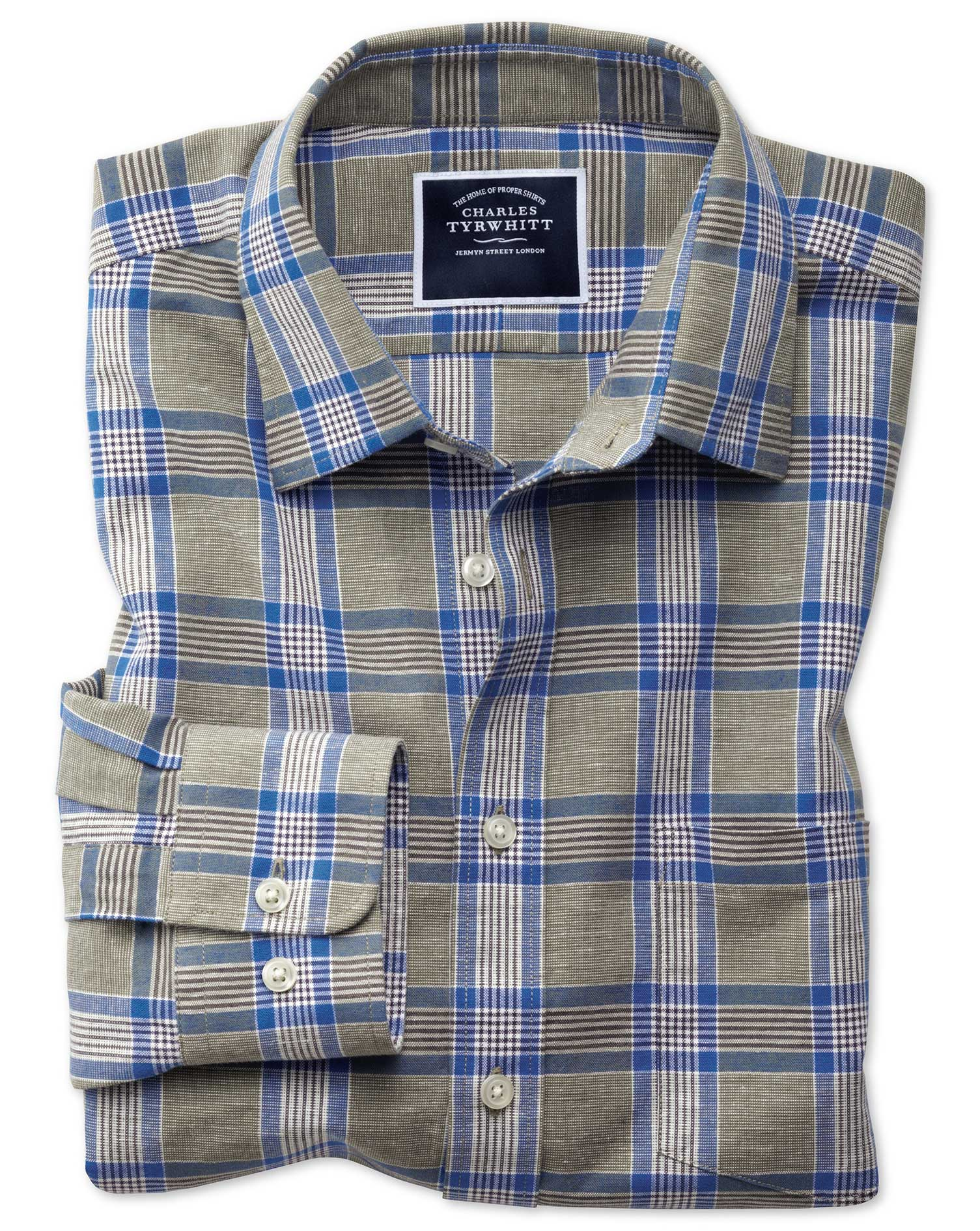 Classic Fit Cotton Linen Khaki Check Shirt Single Cuff Size Small by Charles Tyrwhitt