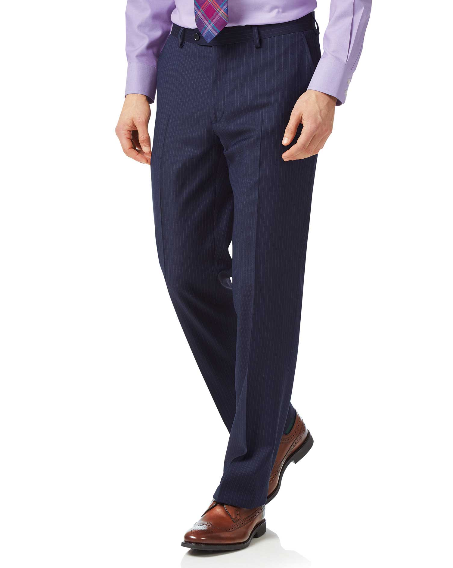 Blue Classic Fit Twill Business Suit Trousers Size W32 L30 by Charles Tyrwhitt