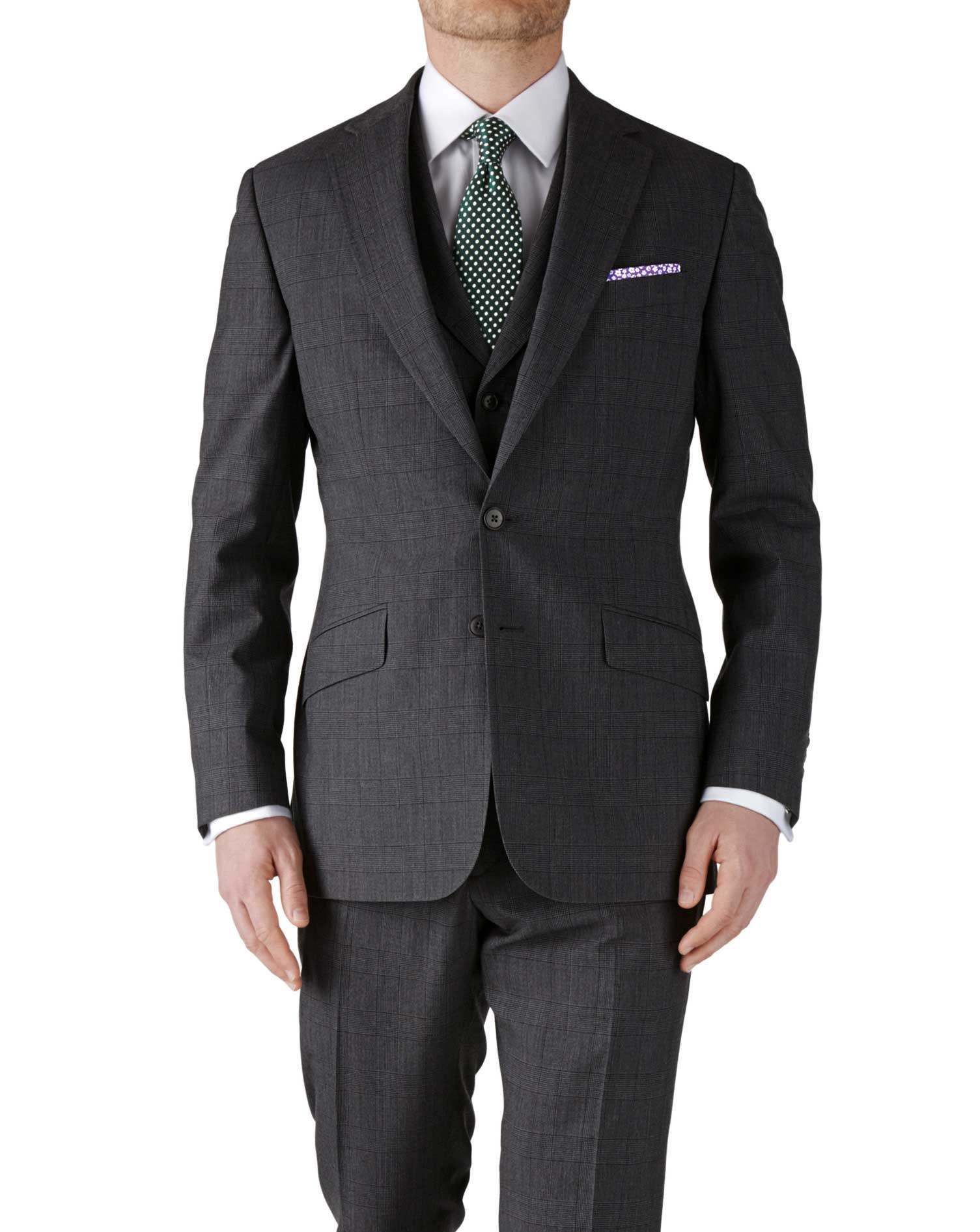 Grey check slim fit flannel business suit jacket | Charles Tyrwhitt