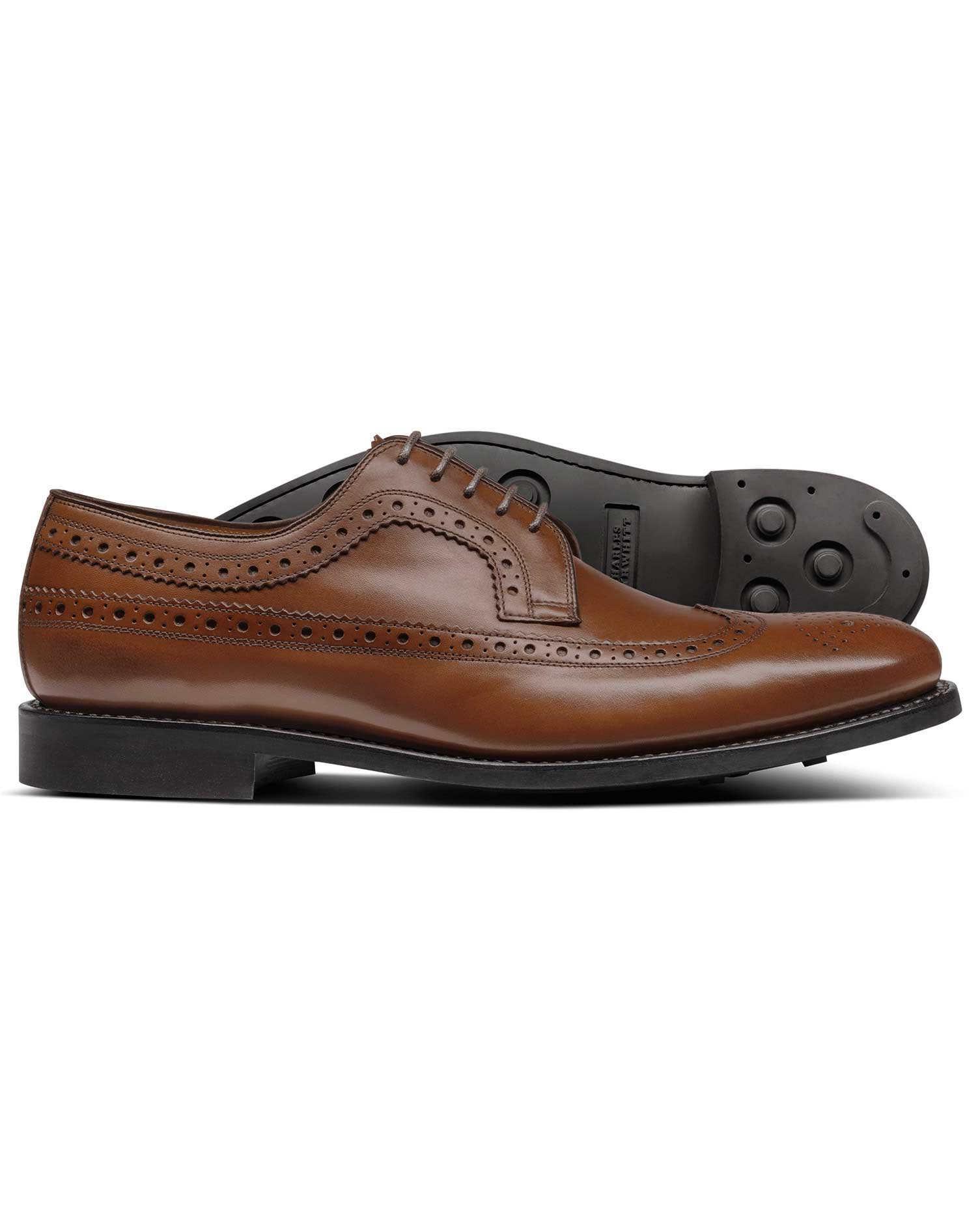 3090d8c890b Chestnut Goodyear welted Derby wing tip brogue shoes