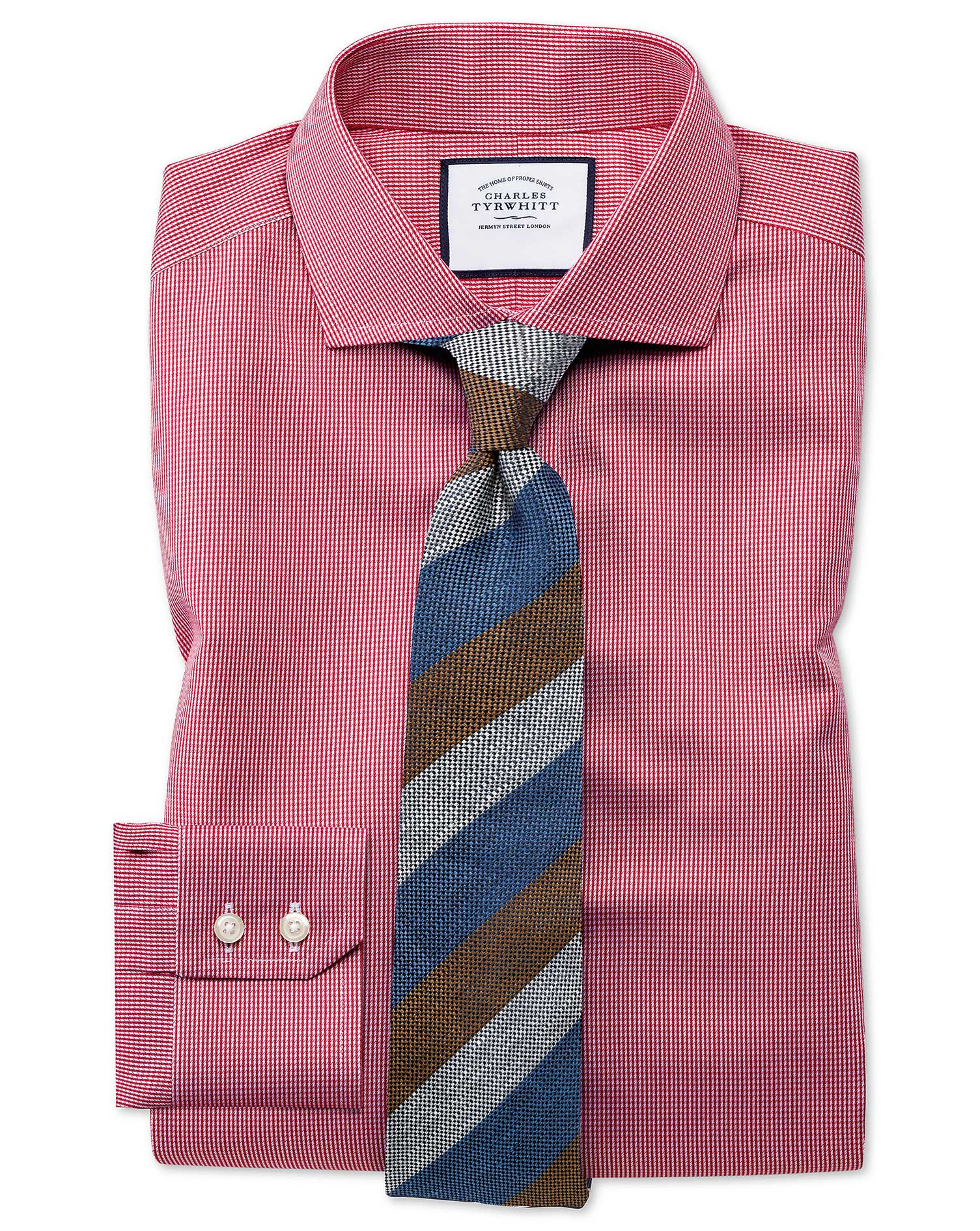 Slim Fit Cutaway Collar Non-Iron Puppytooth Bright Pink Cotton Business Shirt Single Cuff Size 44/86 by Charles Tyrwhitt