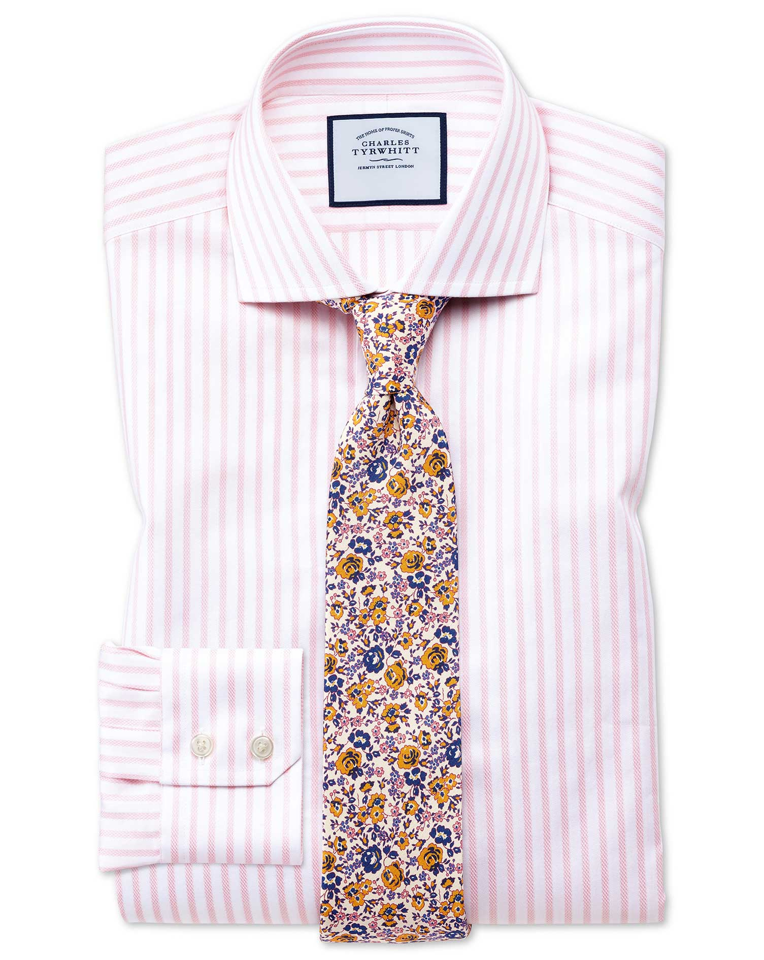 Slim Fit Cutaway Textured Stripe Pink and White Cotton Formal Shirt Single Cuff Size 17.5/34 by Char