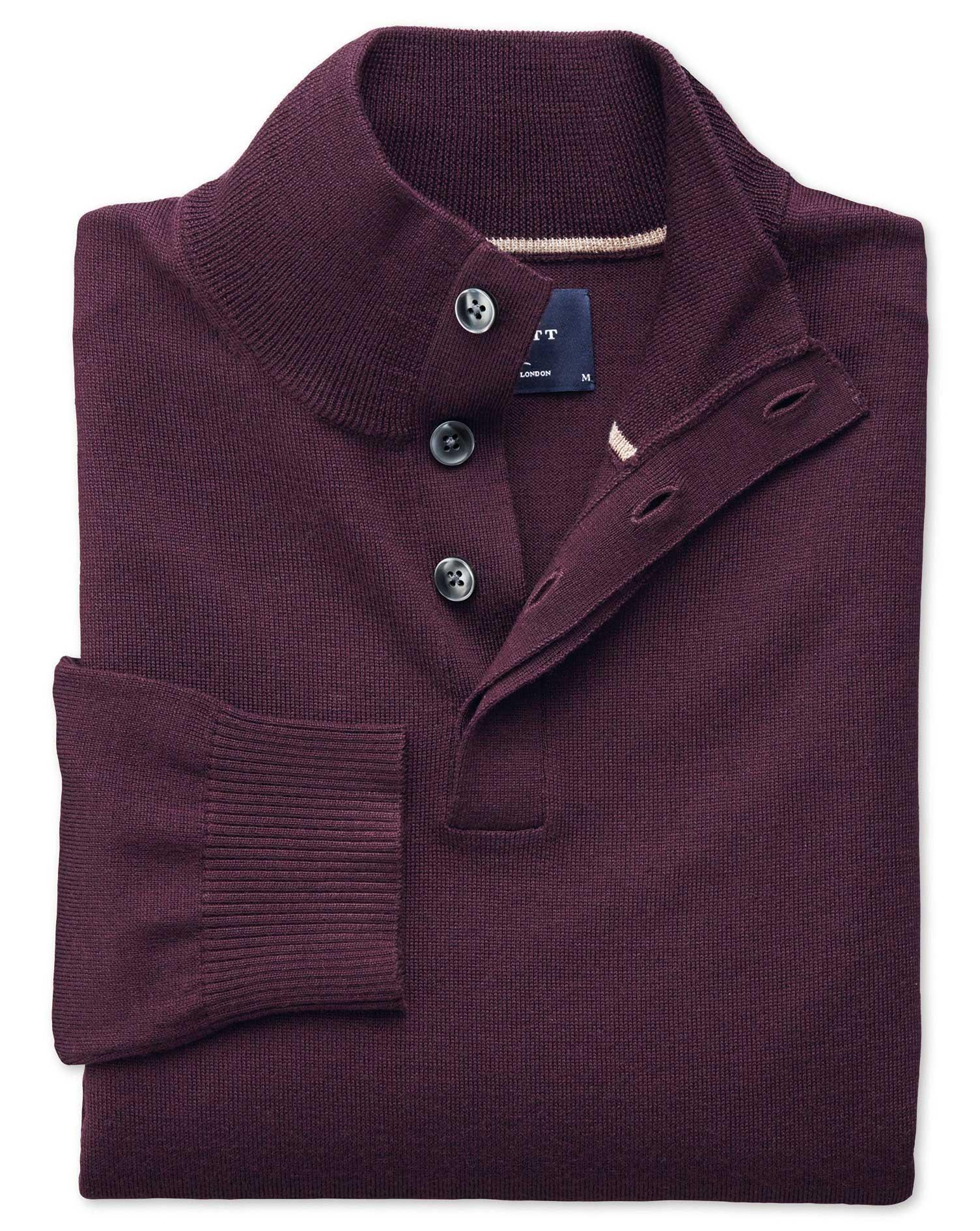 Wine Merino Wool Button Neck Jumper Size XXL by Charles Tyrwhitt