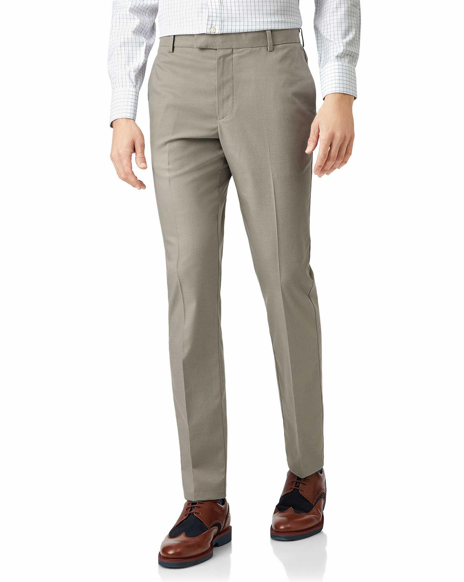 Cotton Stone Non-Iron Stretch Textured Trousers