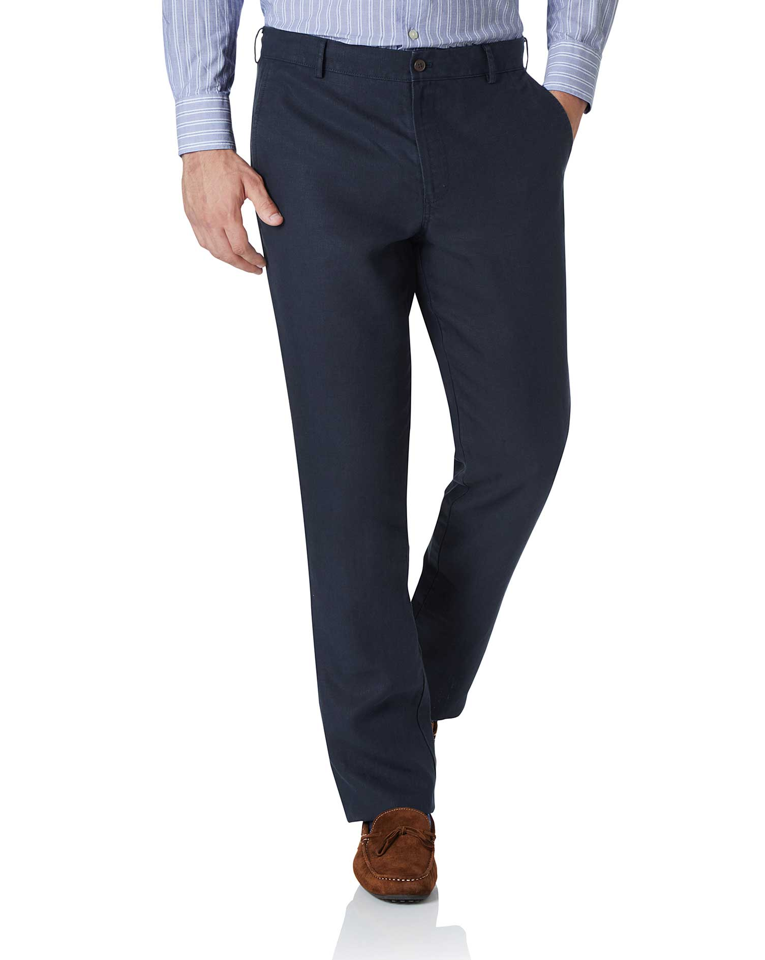 Navy Extra Slim Fit Easy Care Linen Trousers Size W36 L34 by Charles Tyrwhitt
