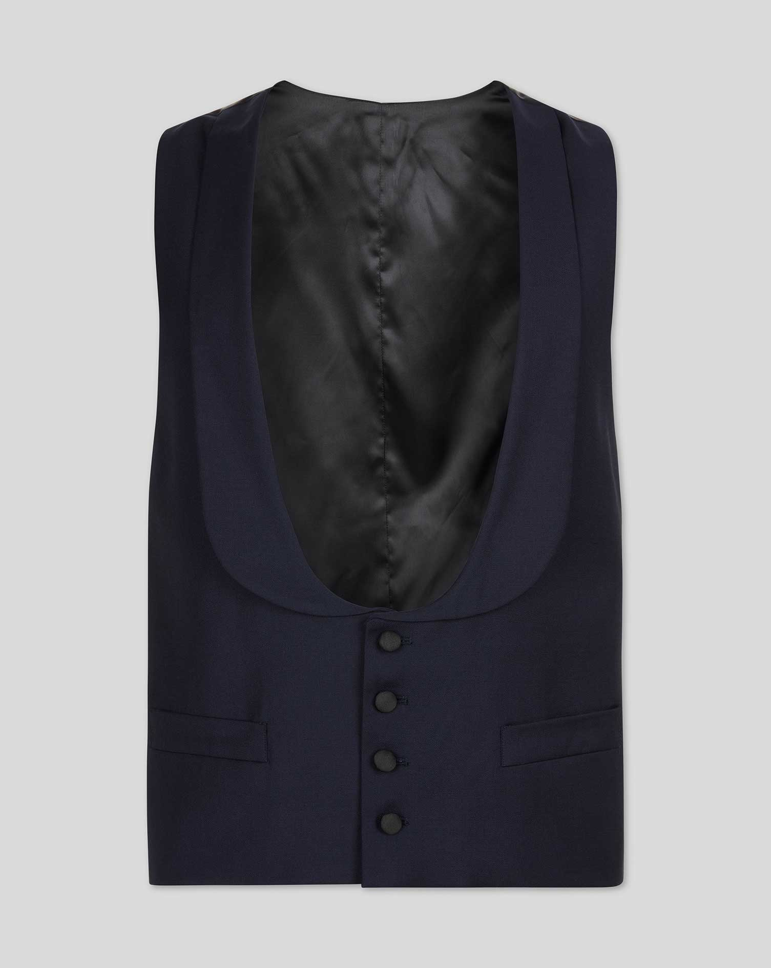 Navy adjustable fit shawl collar tuxedo vest