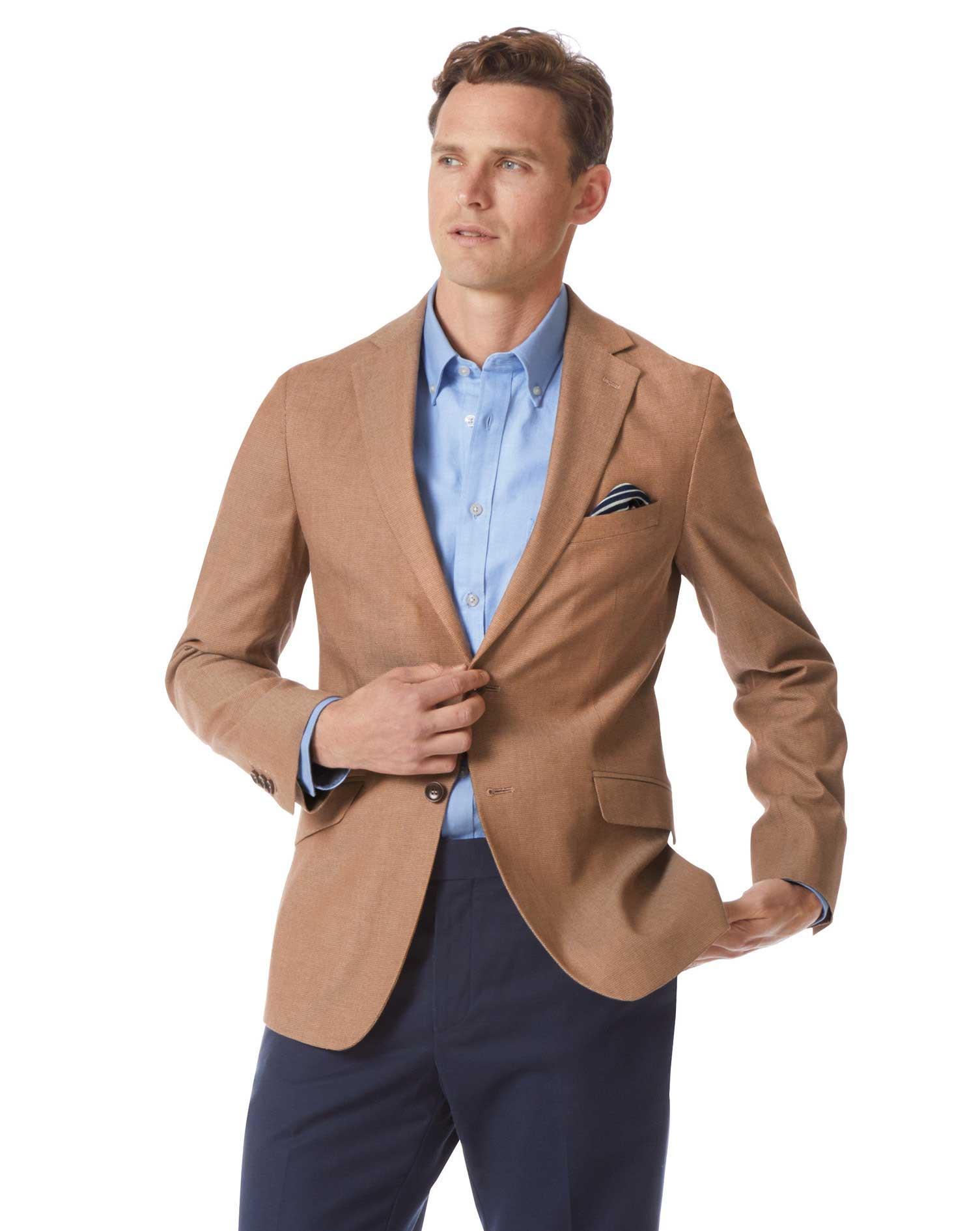 Slim Fit Tan Textured Stretch Cotton Jacket Size 46 Regular by Charles Tyrwhitt