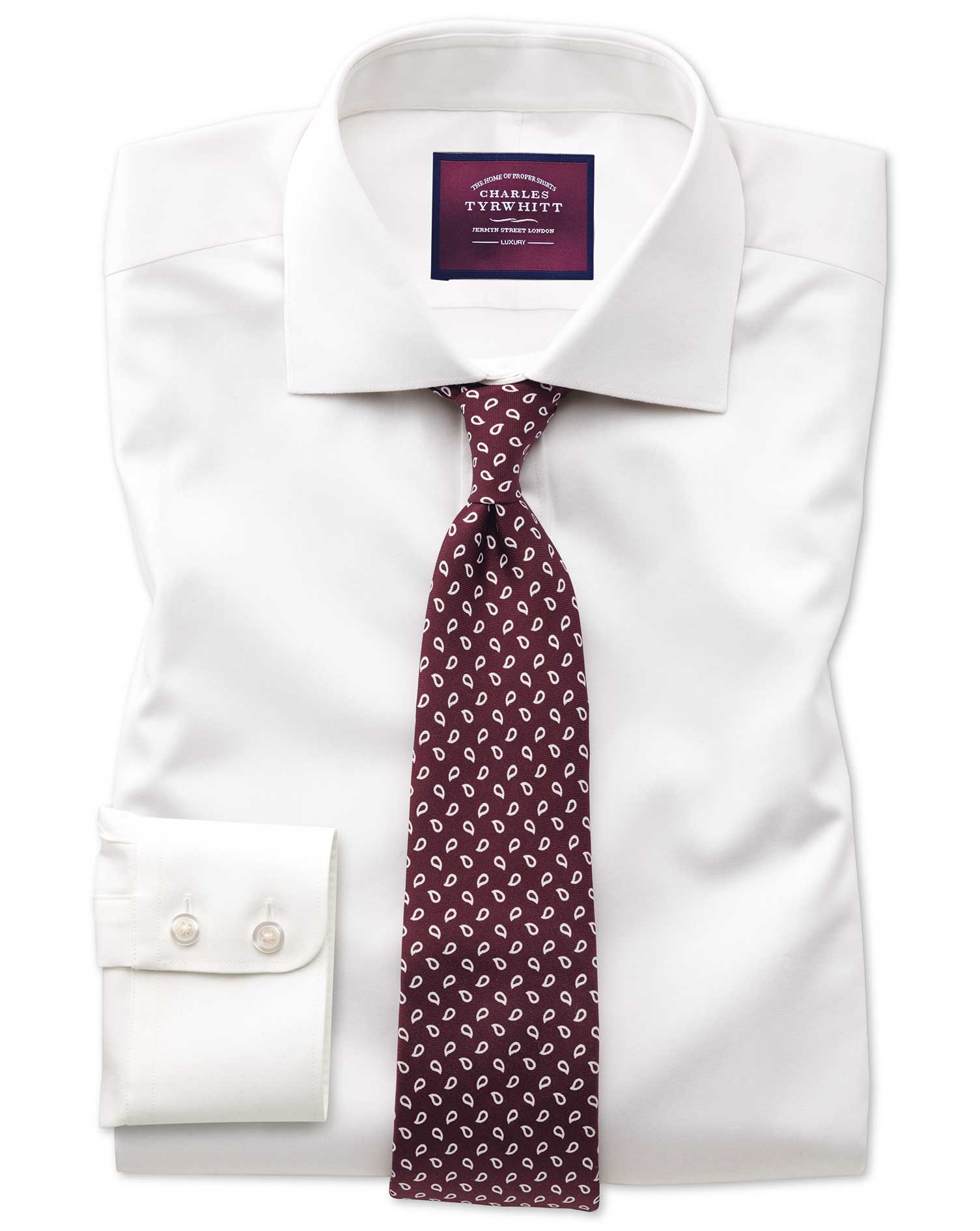 Classic Fit Semi-Cutaway Luxury Cotton Silk Off-White Formal Shirt Single Cuff Size 16/34 by Charles