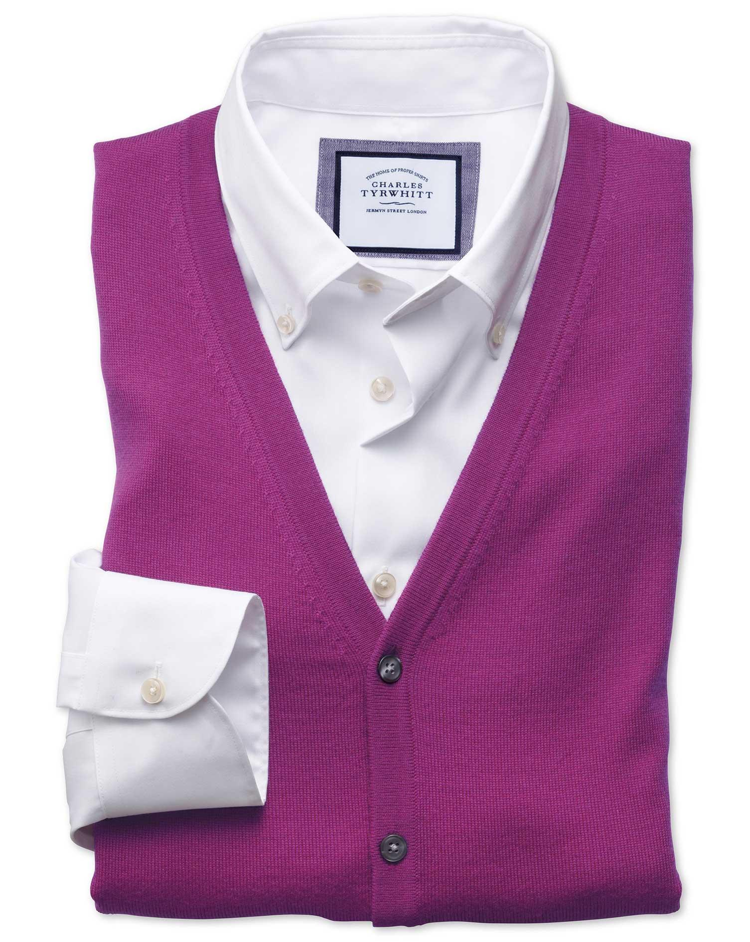 Berry Merino Wool Waistcoat Size XL by Charles Tyrwhitt