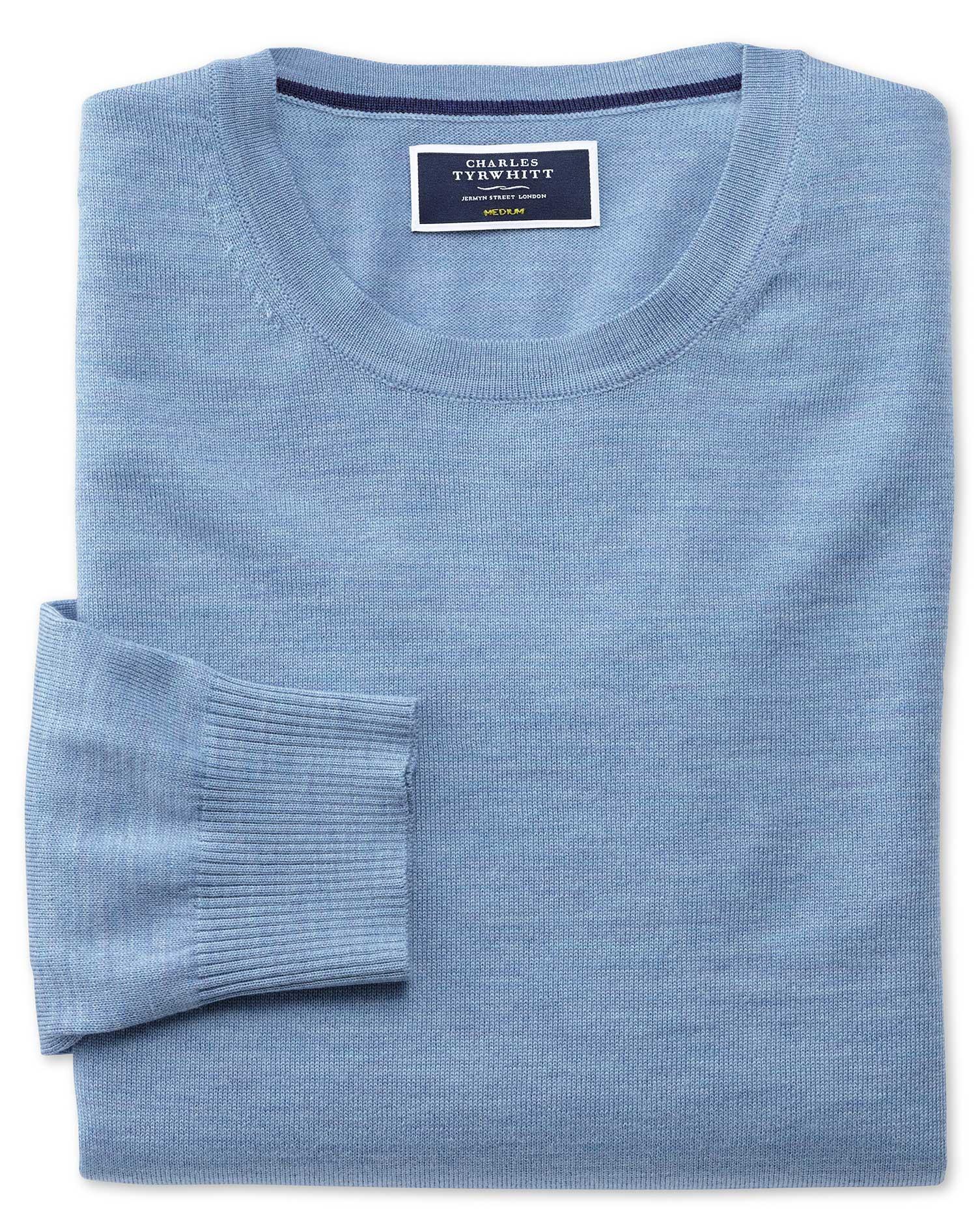 Sky Merino Wool Crew Neck Jumper Size XL by Charles Tyrwhitt