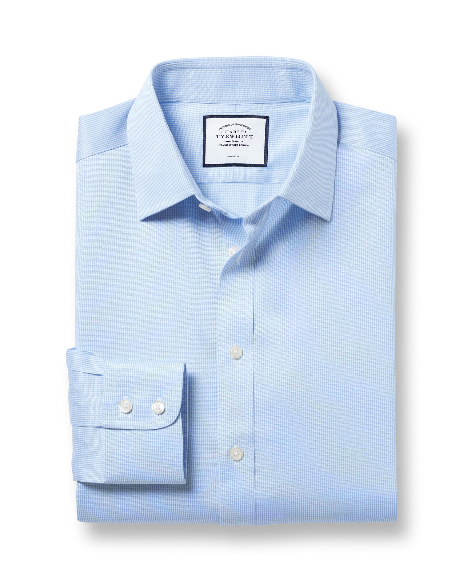 Classic Fit Non-Iron Sky Blue Puppytooth Cotton Formal Shirt Single Cuff Size 19/38 by Charles Tyrwh