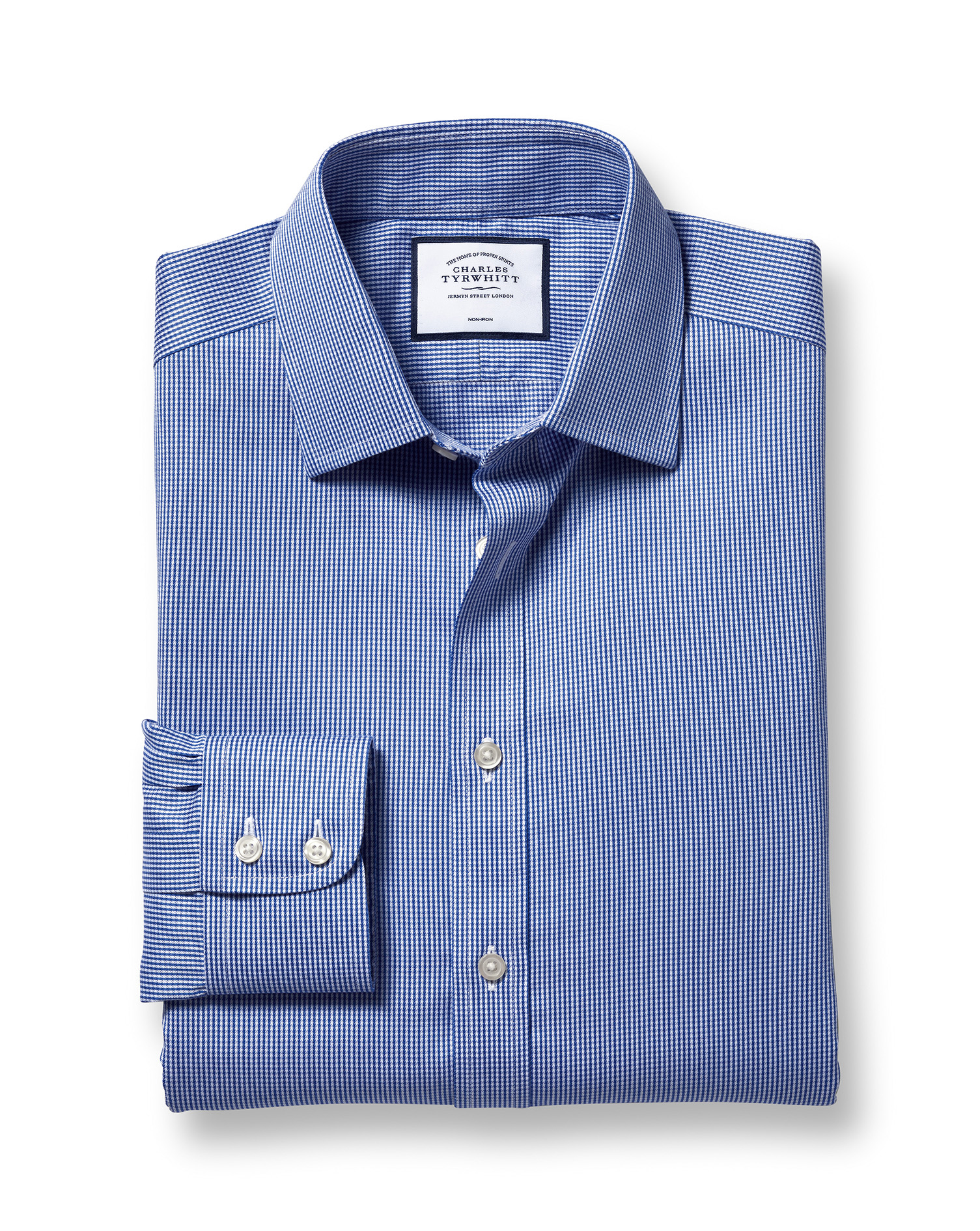 Slim Fit Non-Iron Puppytooth Royal Blue Cotton Formal Shirt Single Cuff Size 17.5/38 by Charles Tyrw