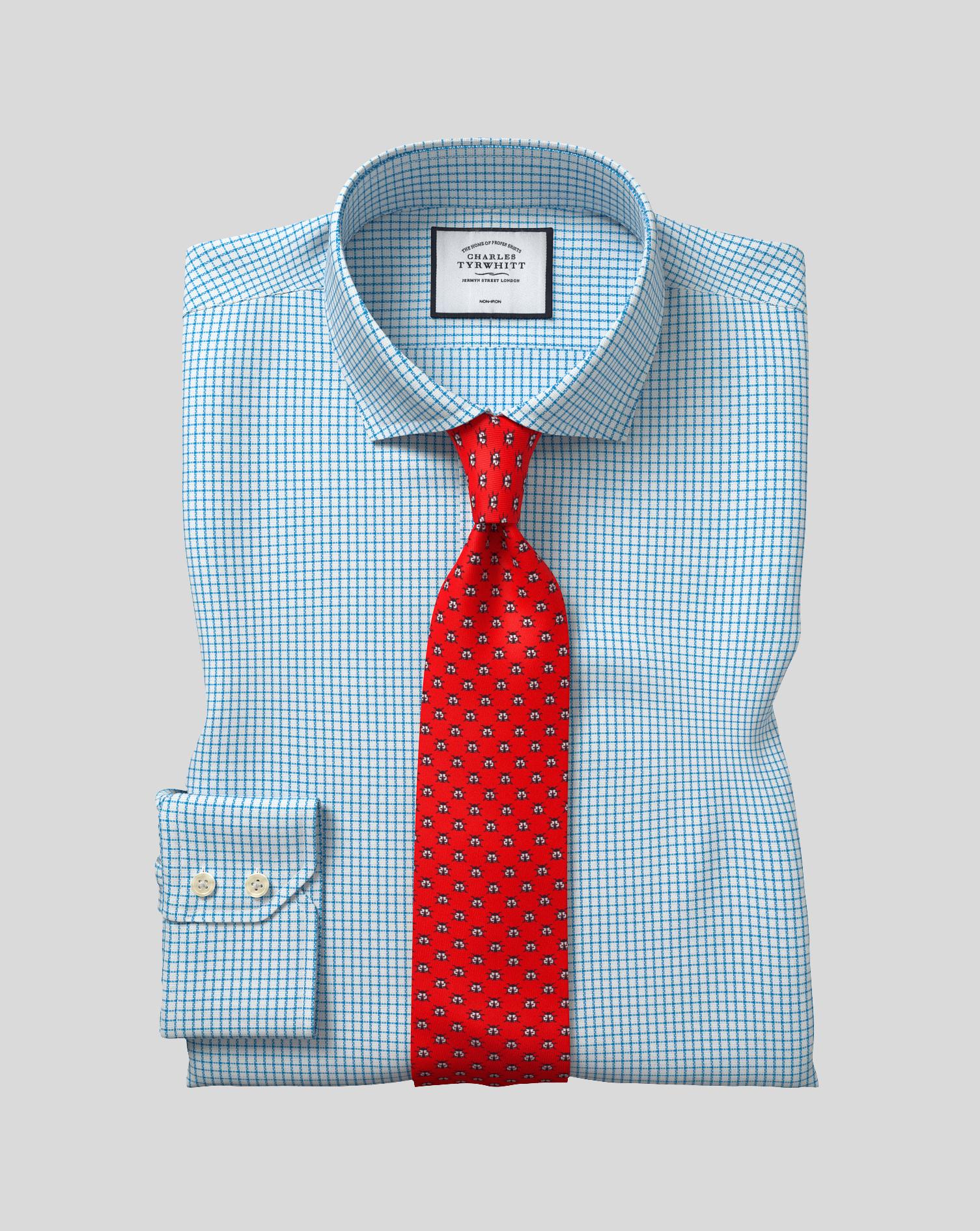 Cutaway Collar Non-Iron Cotton Stretch Check Shirt - Teal
