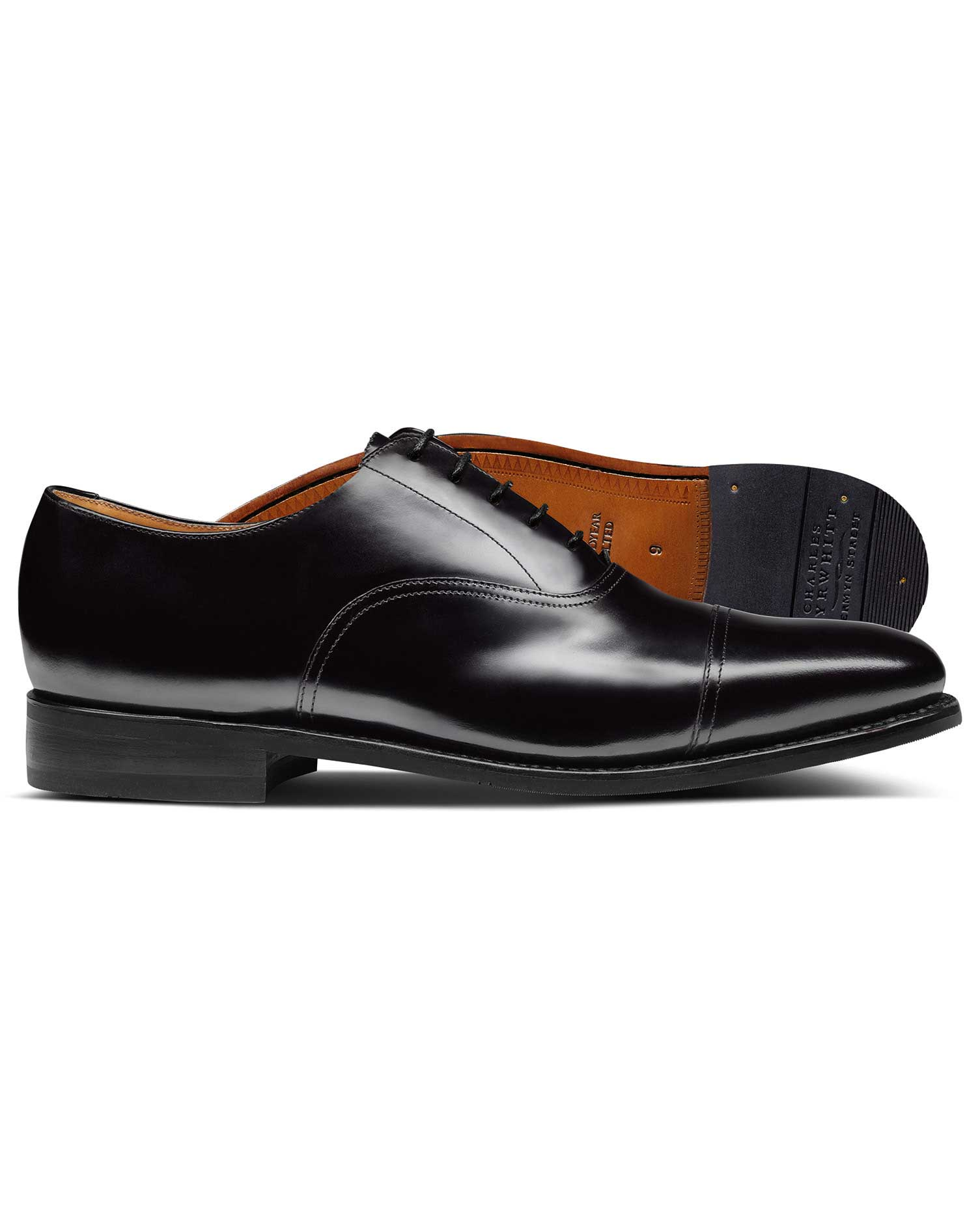 Calf Leather Black Goodyear Welted Oxford Toe Cap Shoes