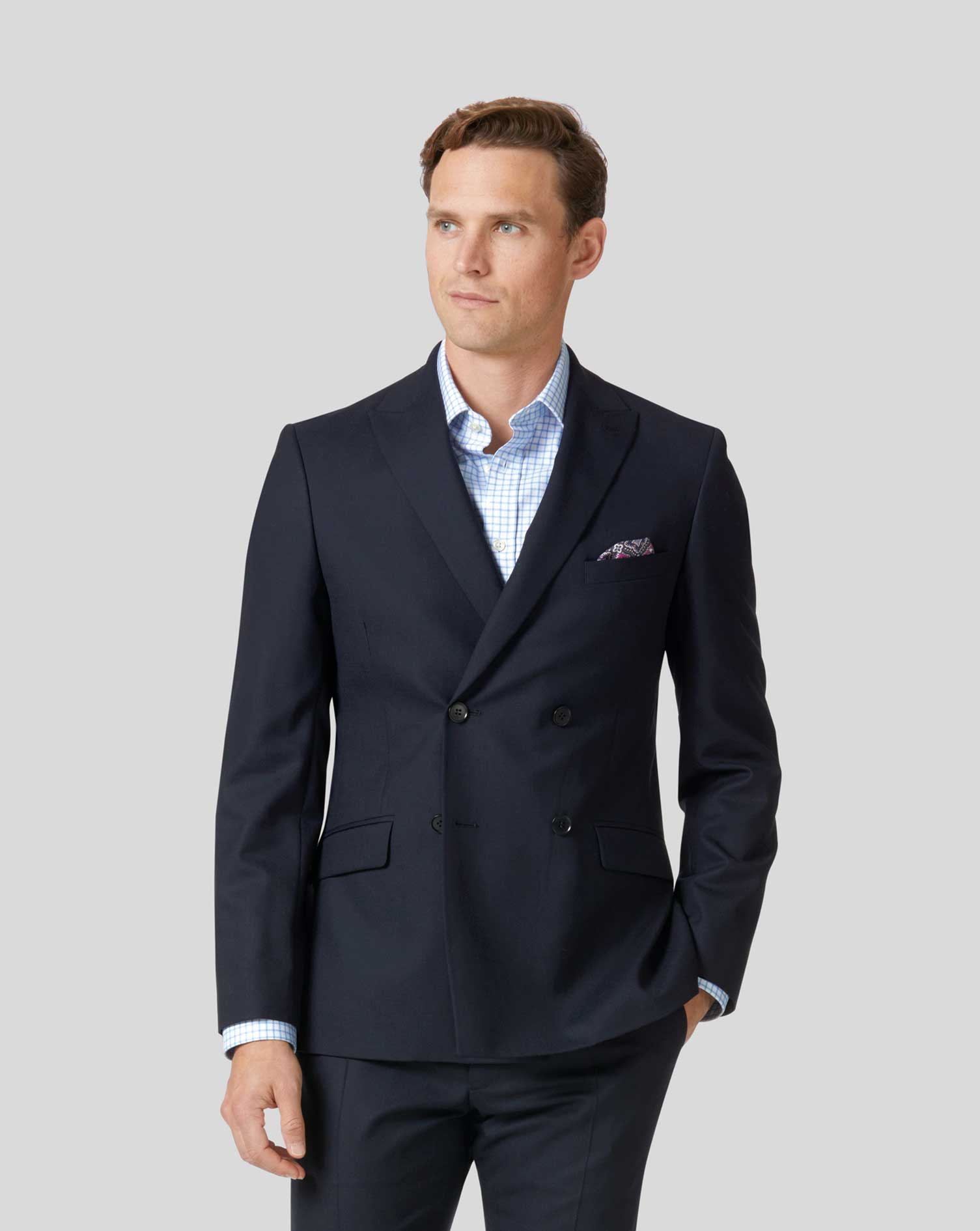 Midnight blue double breasted extra slim fit merino business suit jacket