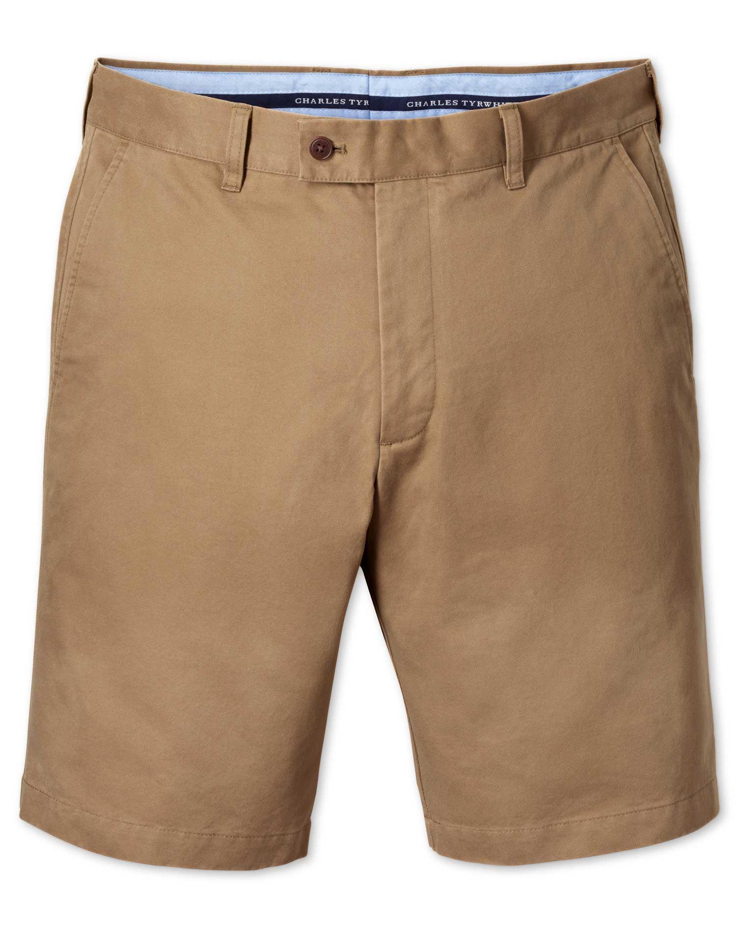 Tan Slim Fit Chino Cotton Shorts Size 40 by Charles Tyrwhitt