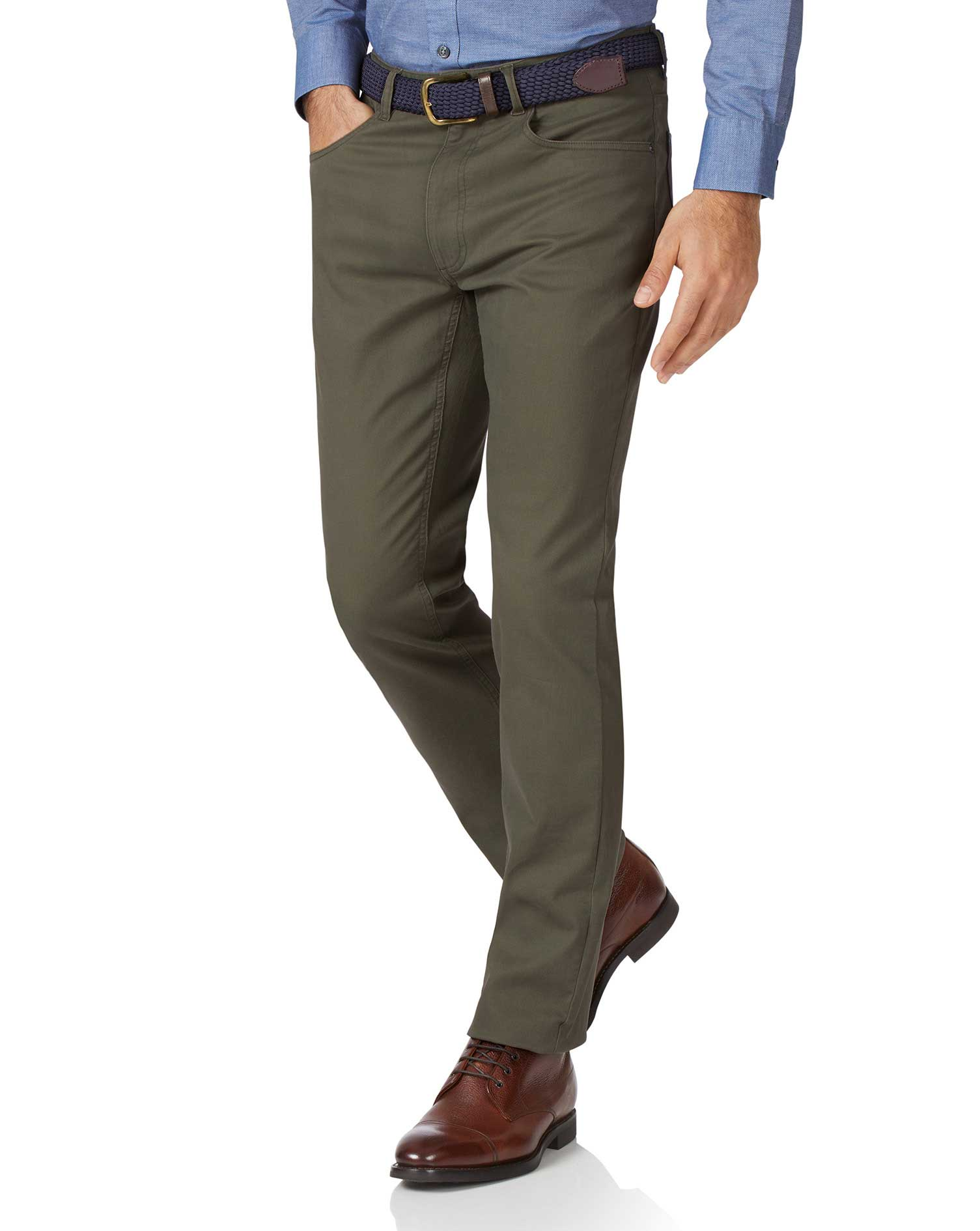 Olive Slim Fit 5 Pocket Bedford Corduroy Trousers Size W38 L30 by Charles Tyrwhitt