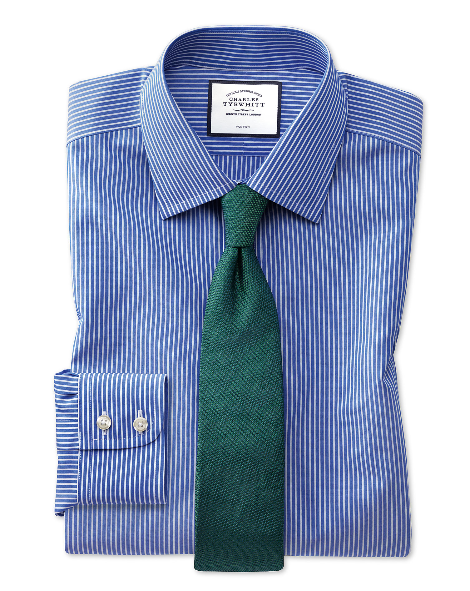 Slim Fit Non-Iron Stripe Blue and White Cotton Formal Shirt Single Cuff Size 17/34 by Charles Tyrwhi