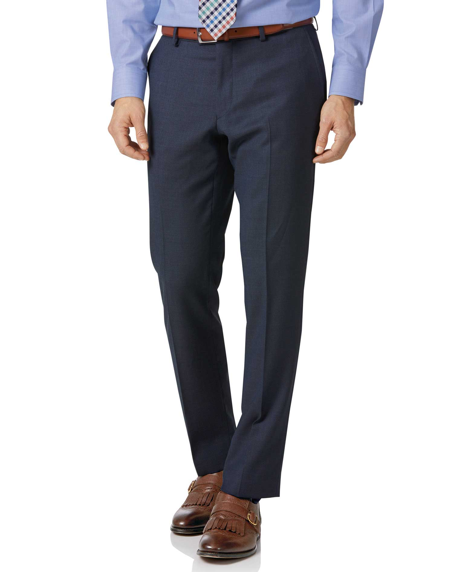 Wool Airforce Blue Slim Fit Birdseye Travel Suit Trousers