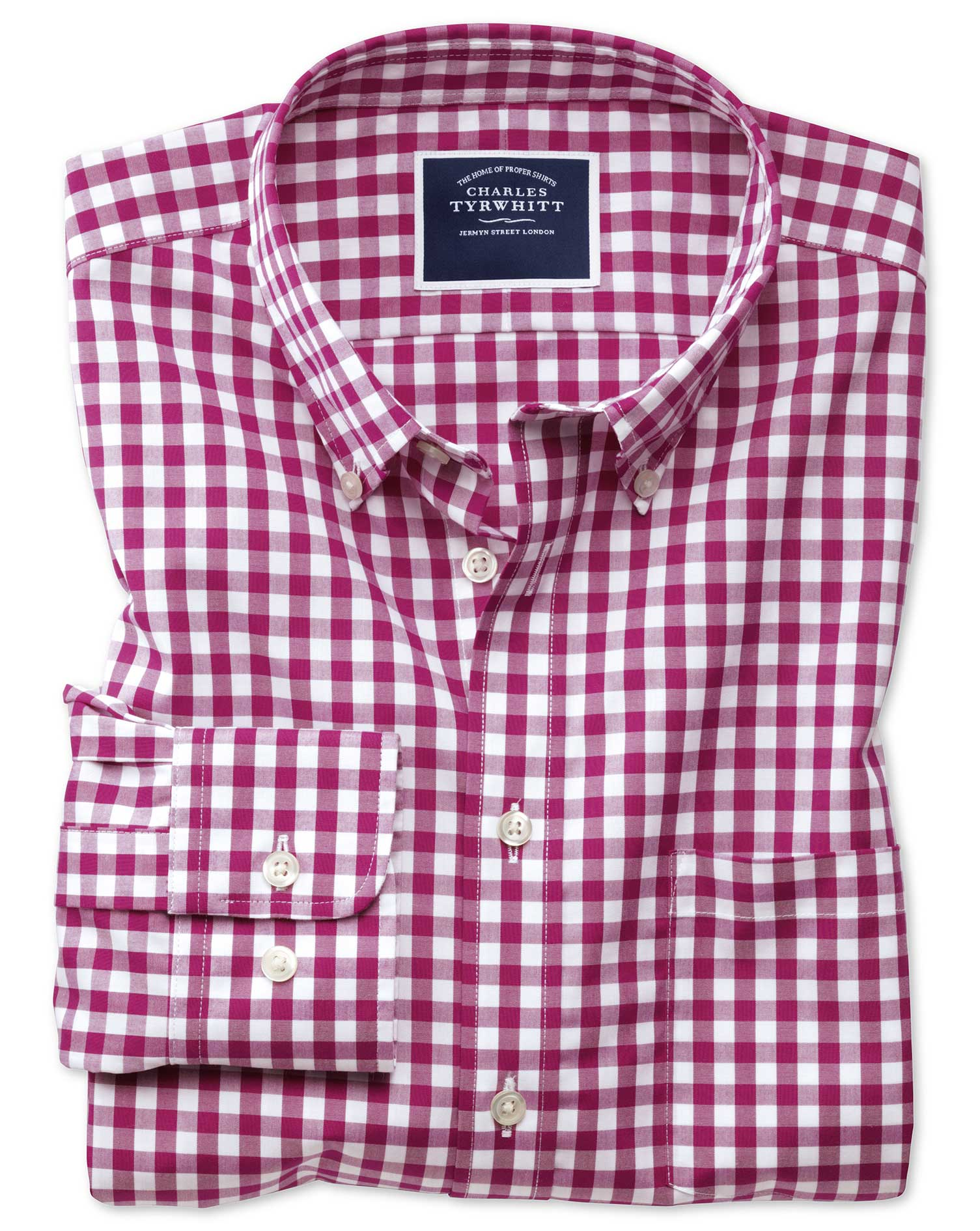 Extra Slim Fit Button-Down Non-Iron Poplin Red Gingham Cotton Shirt Single Cuff Size XL by Charles T