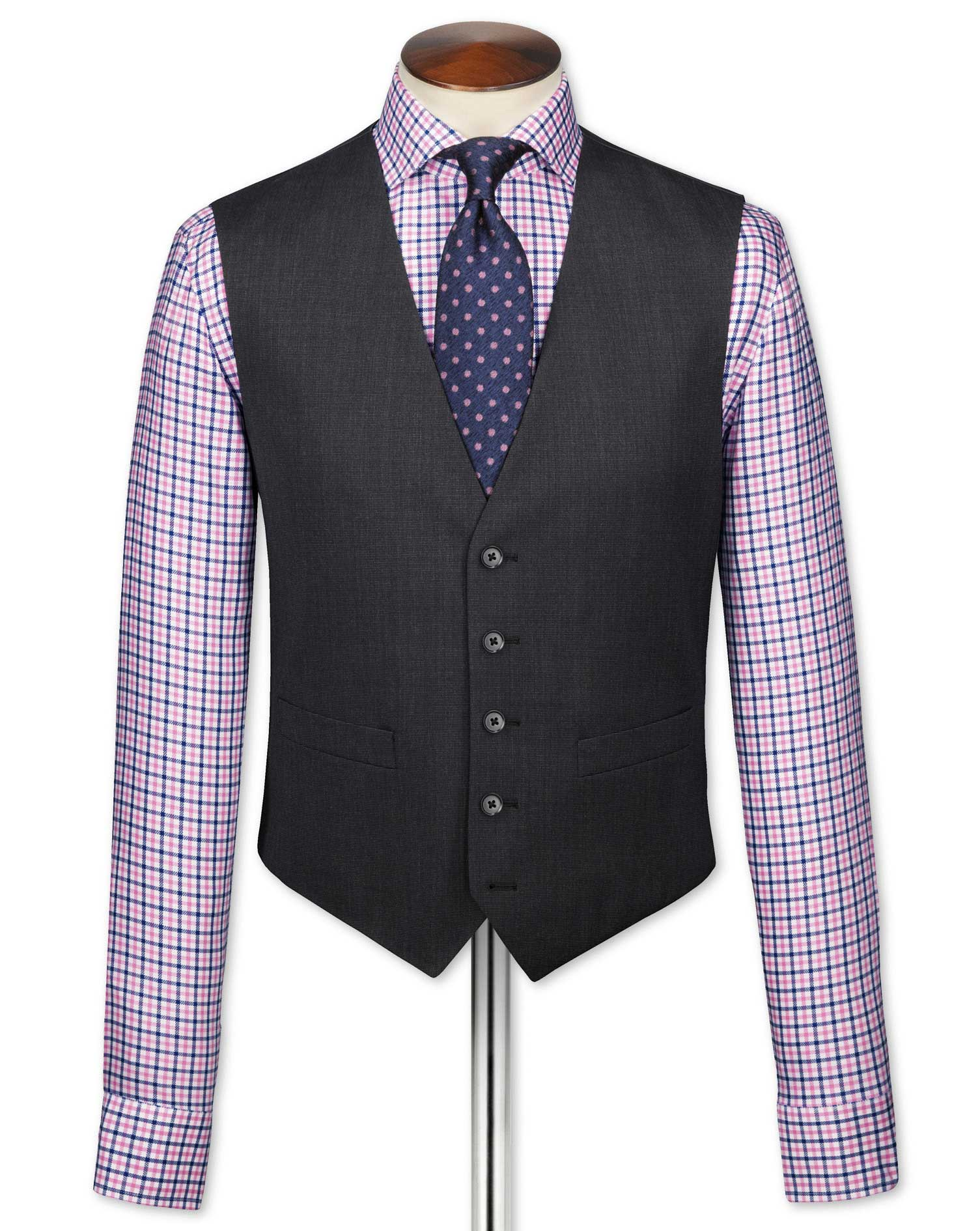 Charcoal End-On-End Business Suit Wool Waistcoat Size w38 by Charles Tyrwhitt