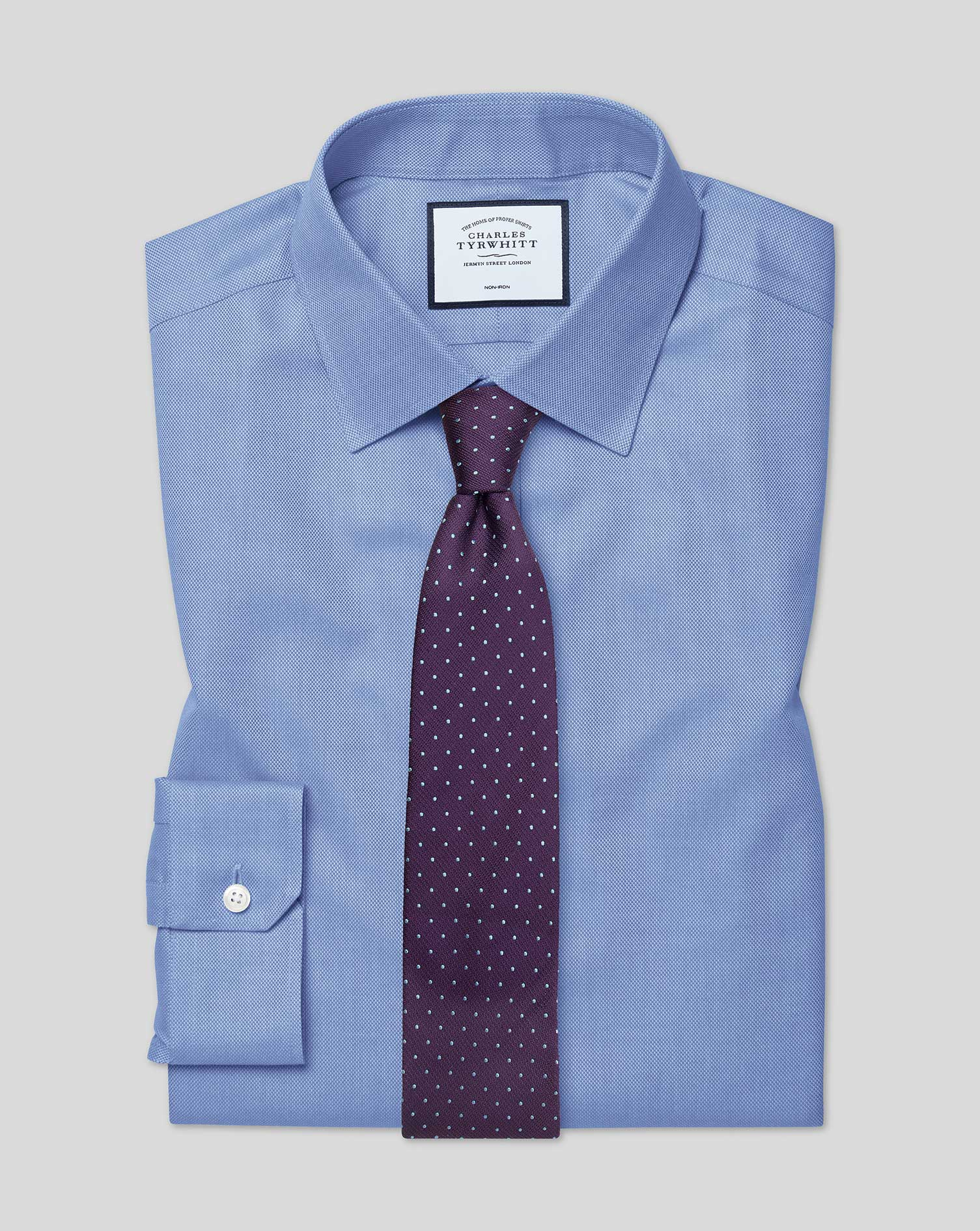 Super Slim Fit Non-Iron Royal Panama Blue Cotton Formal Shirt Single Cuff Size 15.5/34 by Charles Ty
