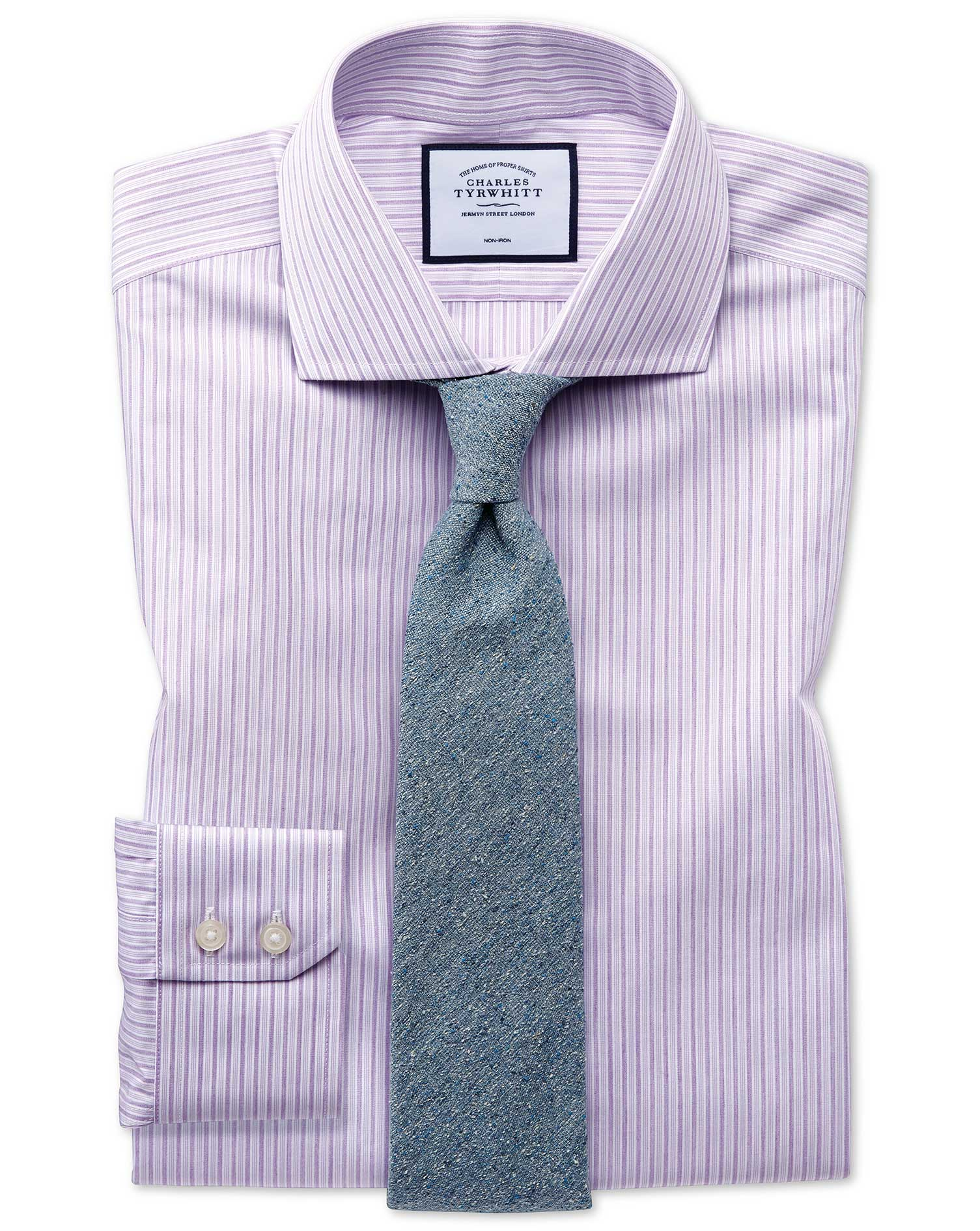 Slim Fit Non-Iron Shadow Stripe Purple Cotton Formal Shirt Single Cuff Size 16.5/33 by Charles Tyrwh