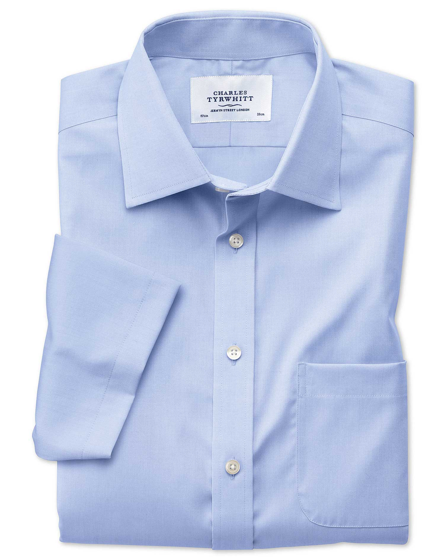 Slim Fit Non-Iron Pinpoint Short Sleeve Sky Blue Cotton Formal Shirt Size 18/Short by Charles Tyrwhi