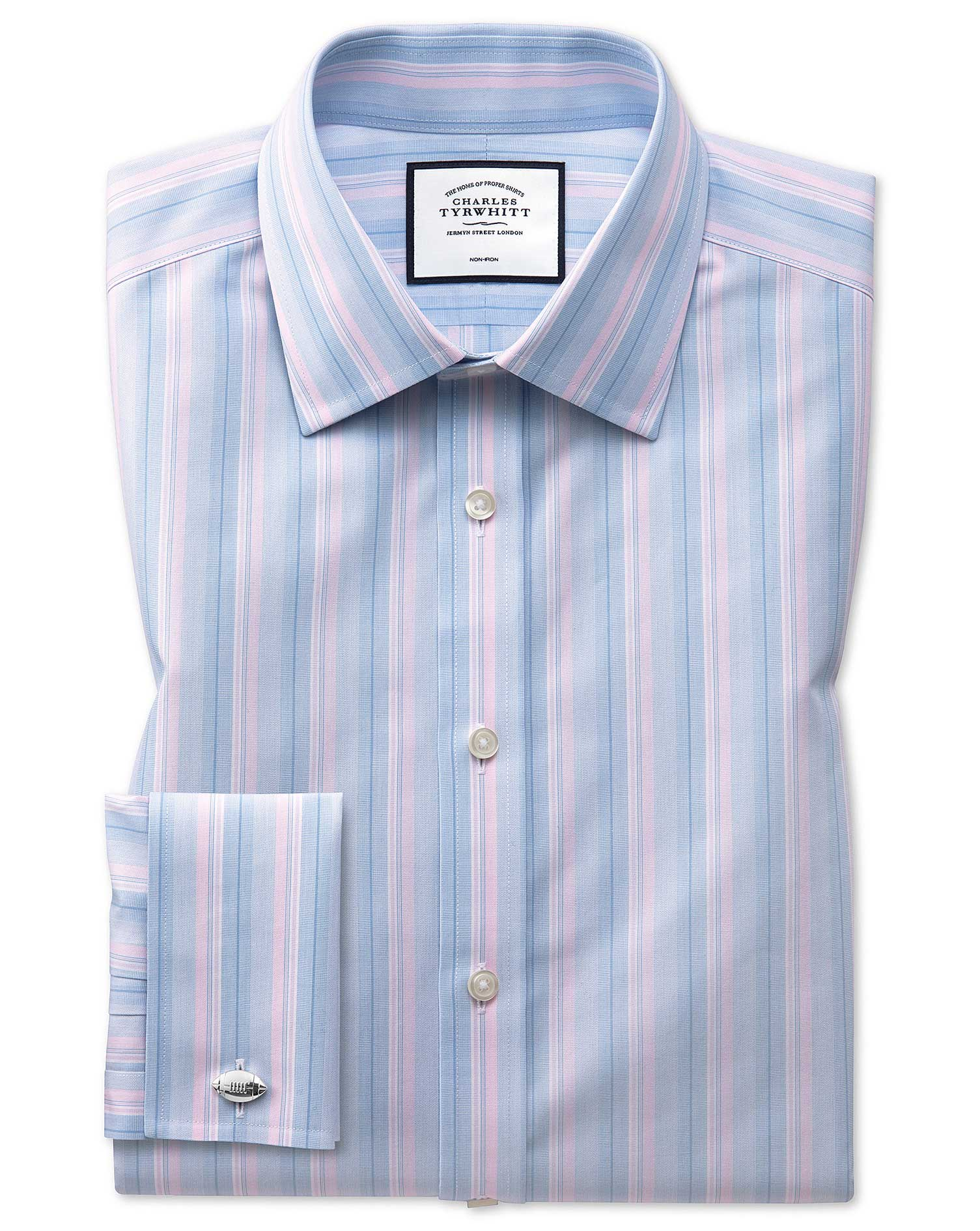 Slim Fit Non-Iron Pink and Blue Multi Stripe Cotton Formal Shirt Double Cuff Size 16.5/35 by Charles