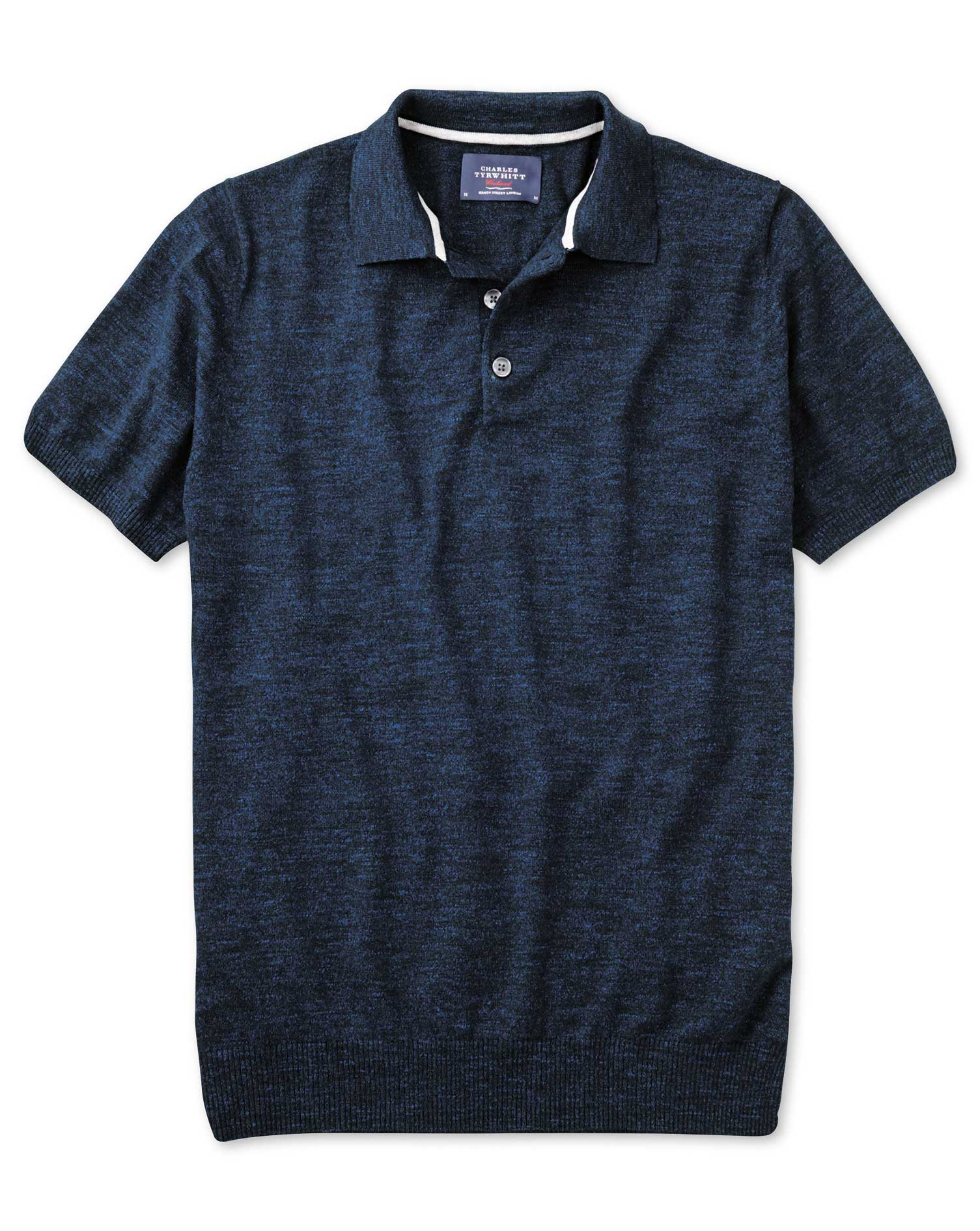 Navy Blue Heather Short Sleeve Cotton Polo Collar Cotton Jumper Size Large by Charles Tyrwhitt