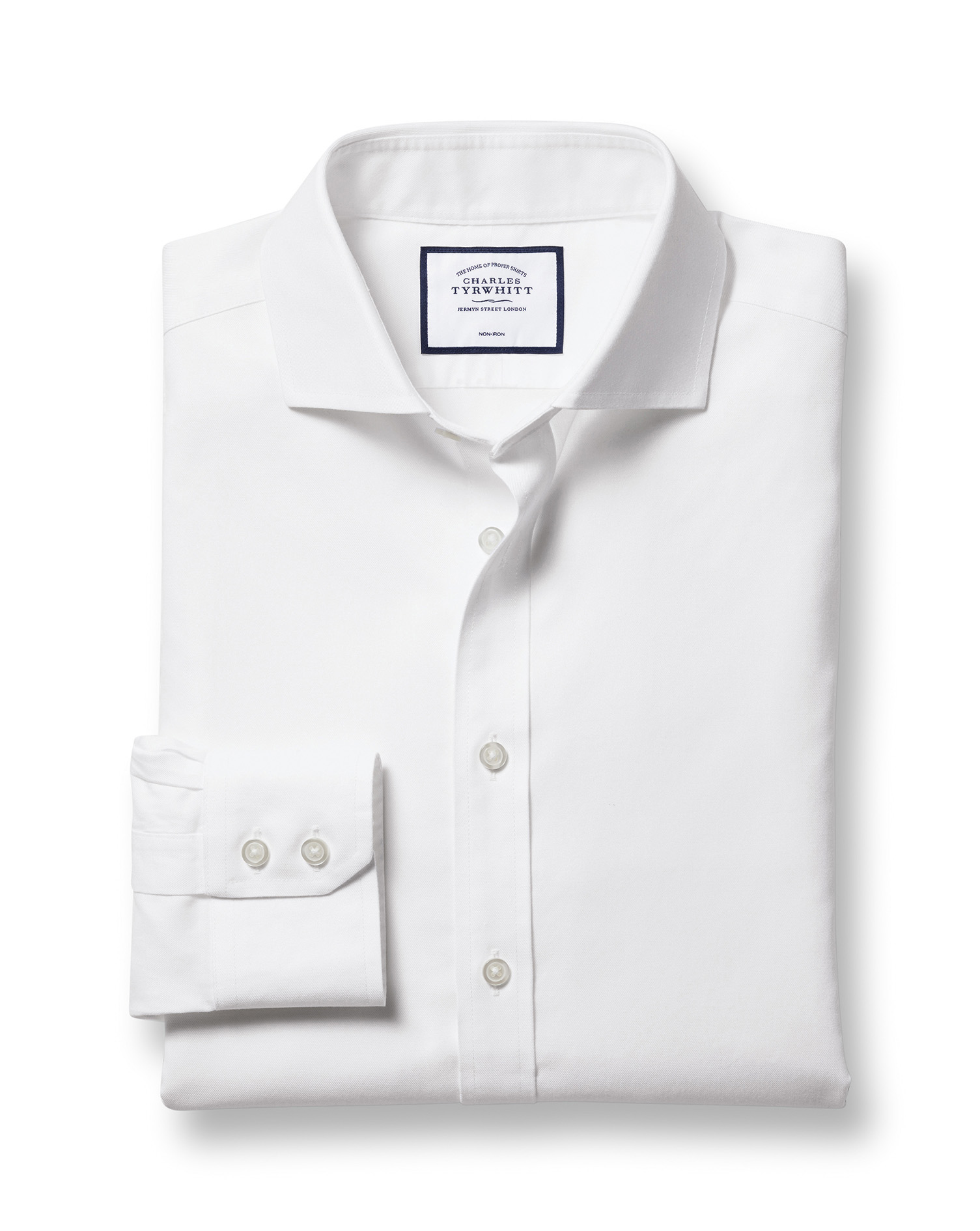 Classic Fit Cutaway Non-Iron Twill White Cotton Formal Shirt Single Cuff Size 15/33 by Charles Tyrwh