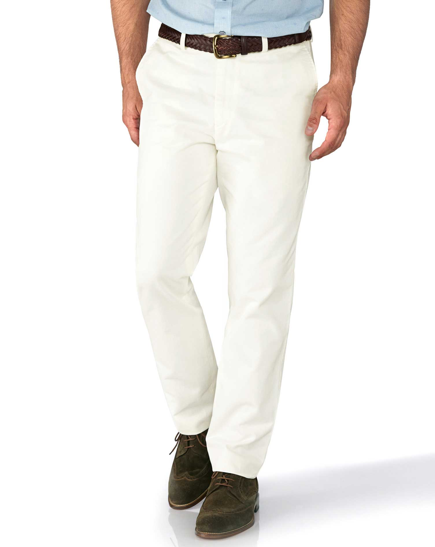 White Slim Fit Flat Front Weekend Cotton Chino Trousers Size W36 L34 by Charles Tyrwhitt