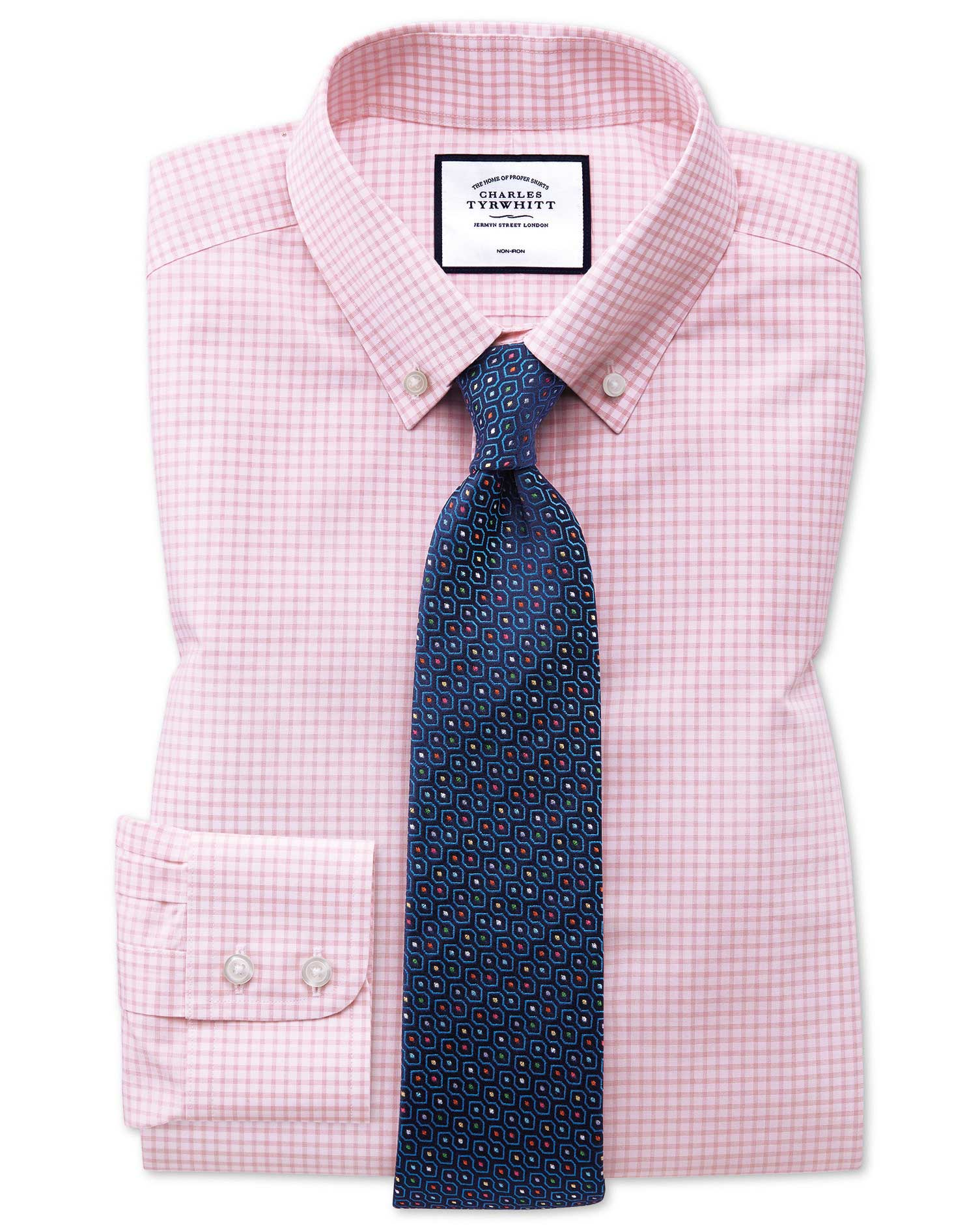 Slim Fit Button-Down Non-Iron Pink Windowpane Check Cotton Formal Shirt Single Cuff Size 17/36 by Ch