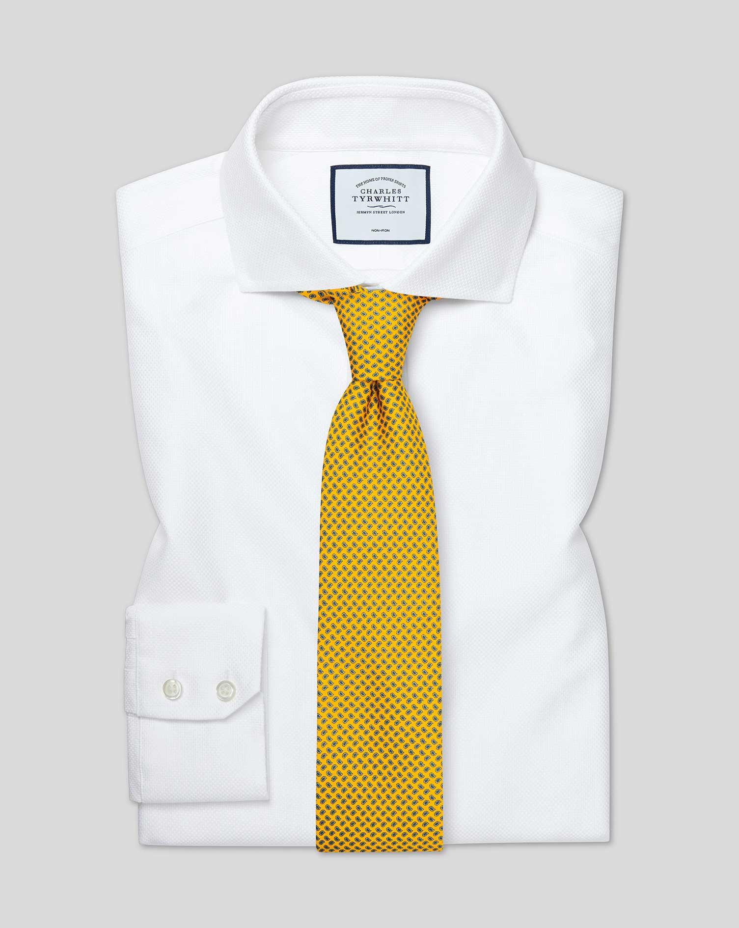 Cotton Slim Fit Cutaway Non-Iron Buckingham Weave White Shirt