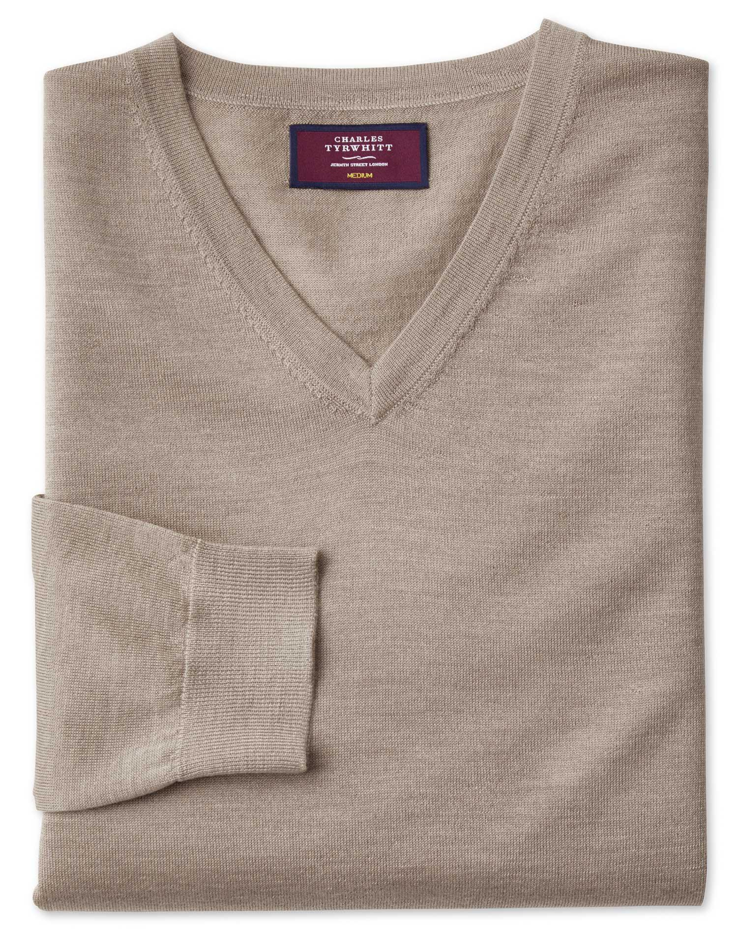 Stone Merino Silk V-Neck Jumper Size XXL by Charles Tyrwhitt