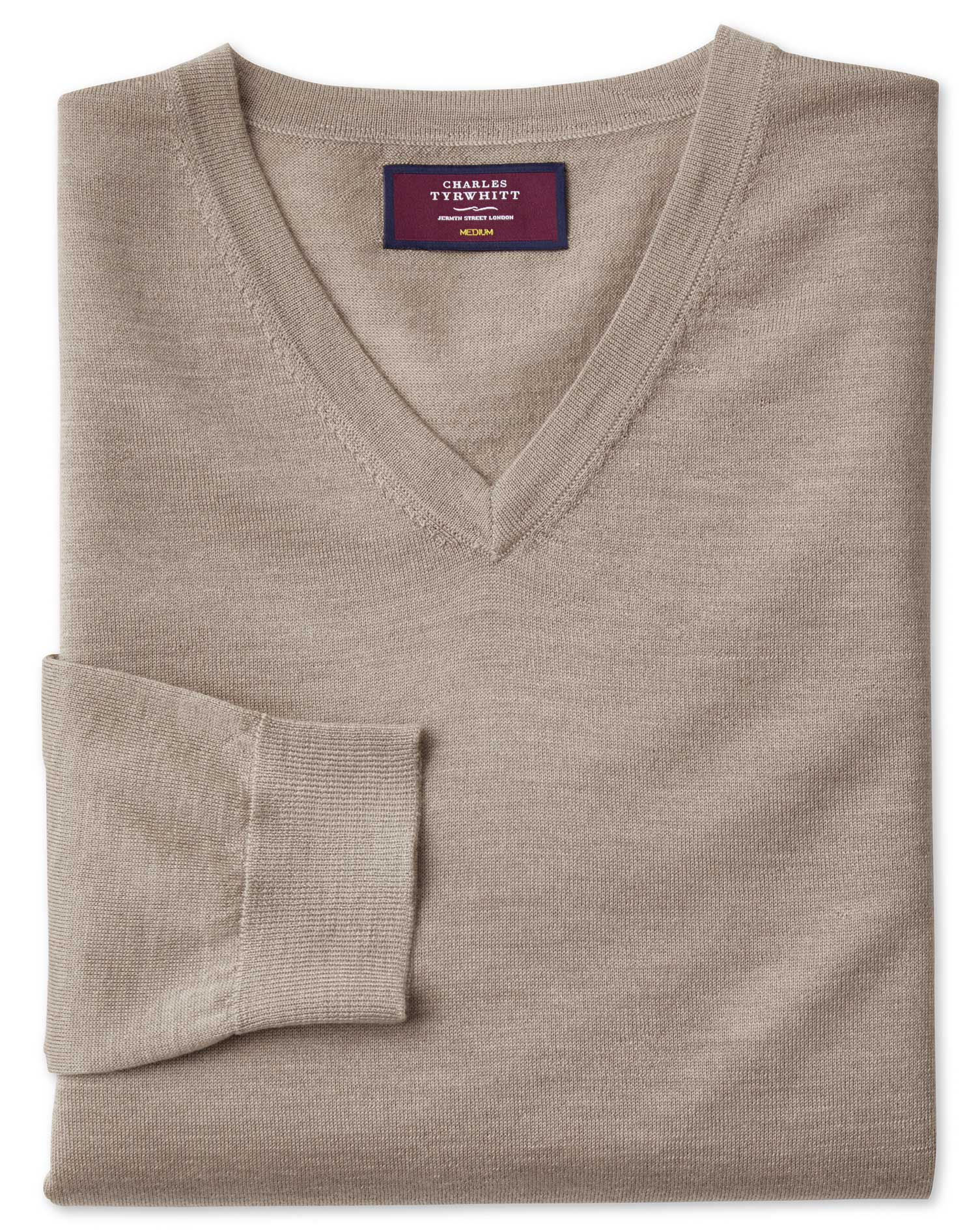 Stone Merino Silk V-Neck Jumper Size Large by Charles Tyrwhitt