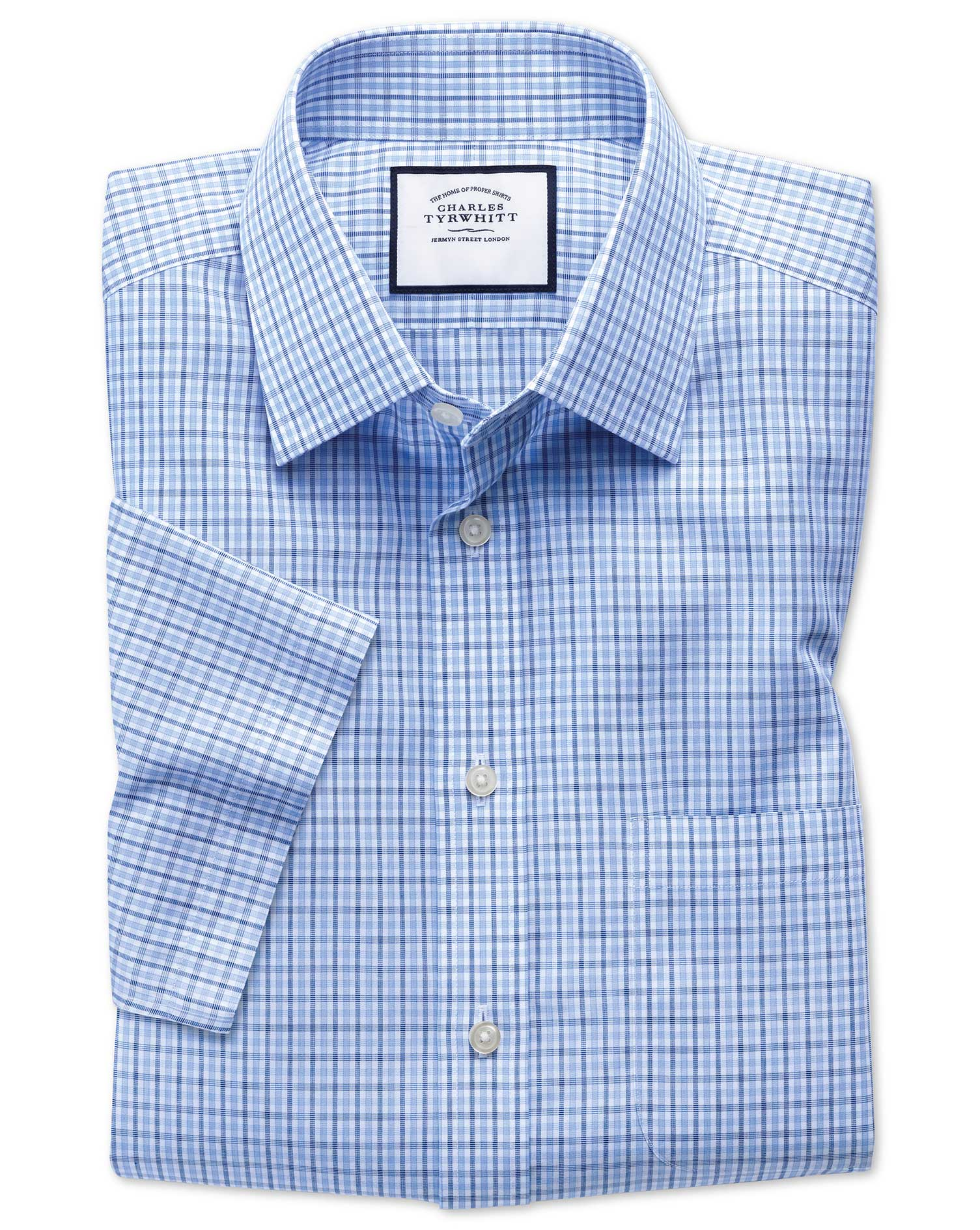 Slim Fit Non-Iron Poplin Short Sleeve Blue and Sky Blue Cotton Formal Shirt Size 17.5/Short by Charl