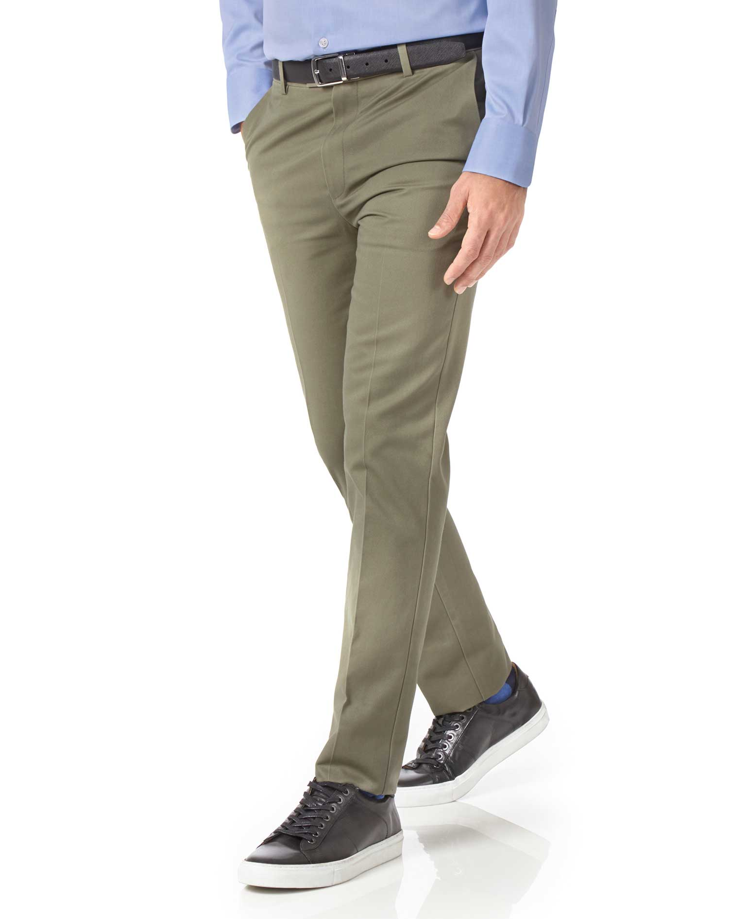 Olive Extra Slim Fit Flat Front Non-Iron Cotton Chino Trousers Size W34 L34 by Charles Tyrwhitt
