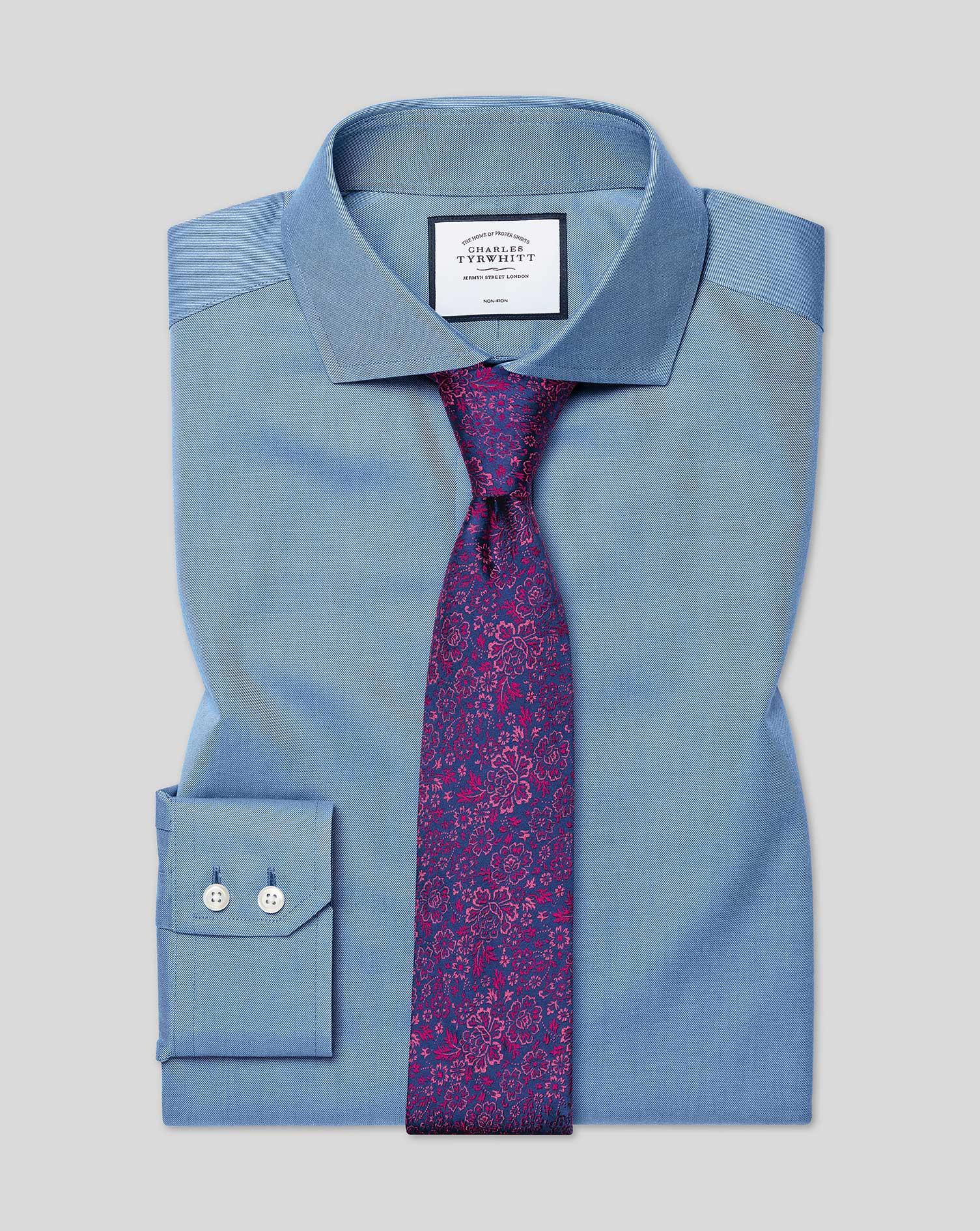 Cotton Slim Fit Non-Iron Cutaway Twill Blue Shirt