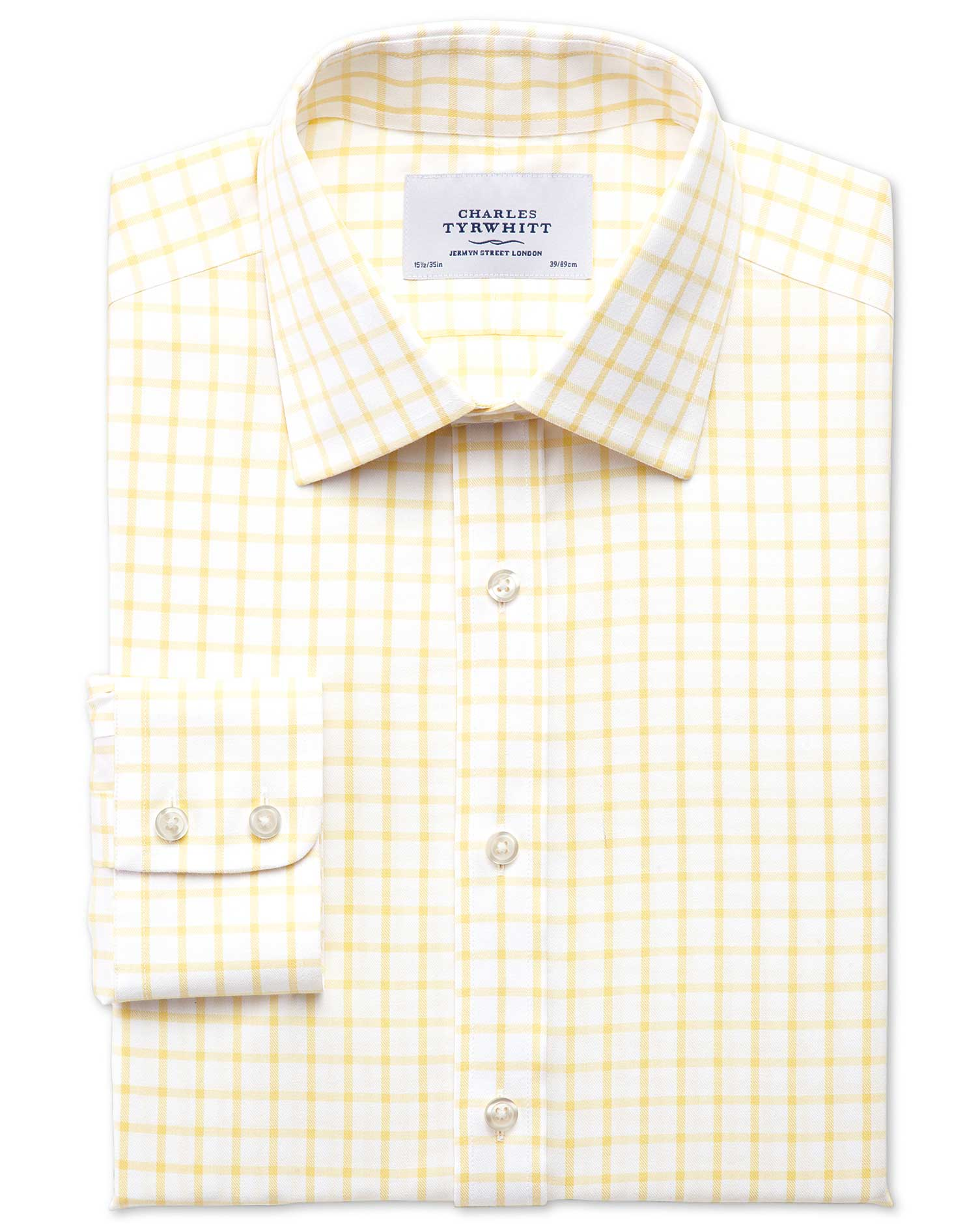 Extra Slim Fit Non-Iron Twill Grid Check Light Yellow Cotton Formal Shirt Single Cuff Size 16/35 by