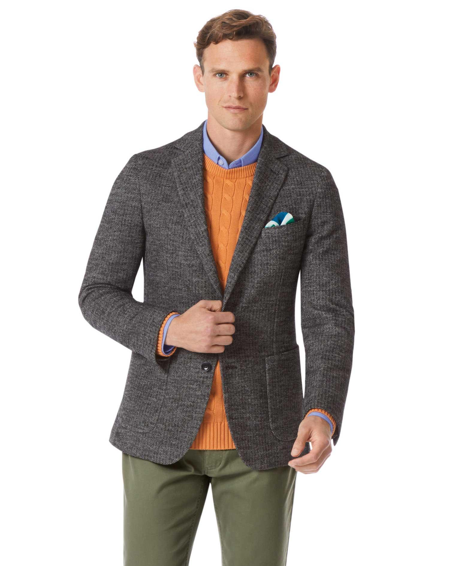 Slim Fit Black and White Stretch Wool Jacket Size 42 Regular by Charles Tyrwhitt