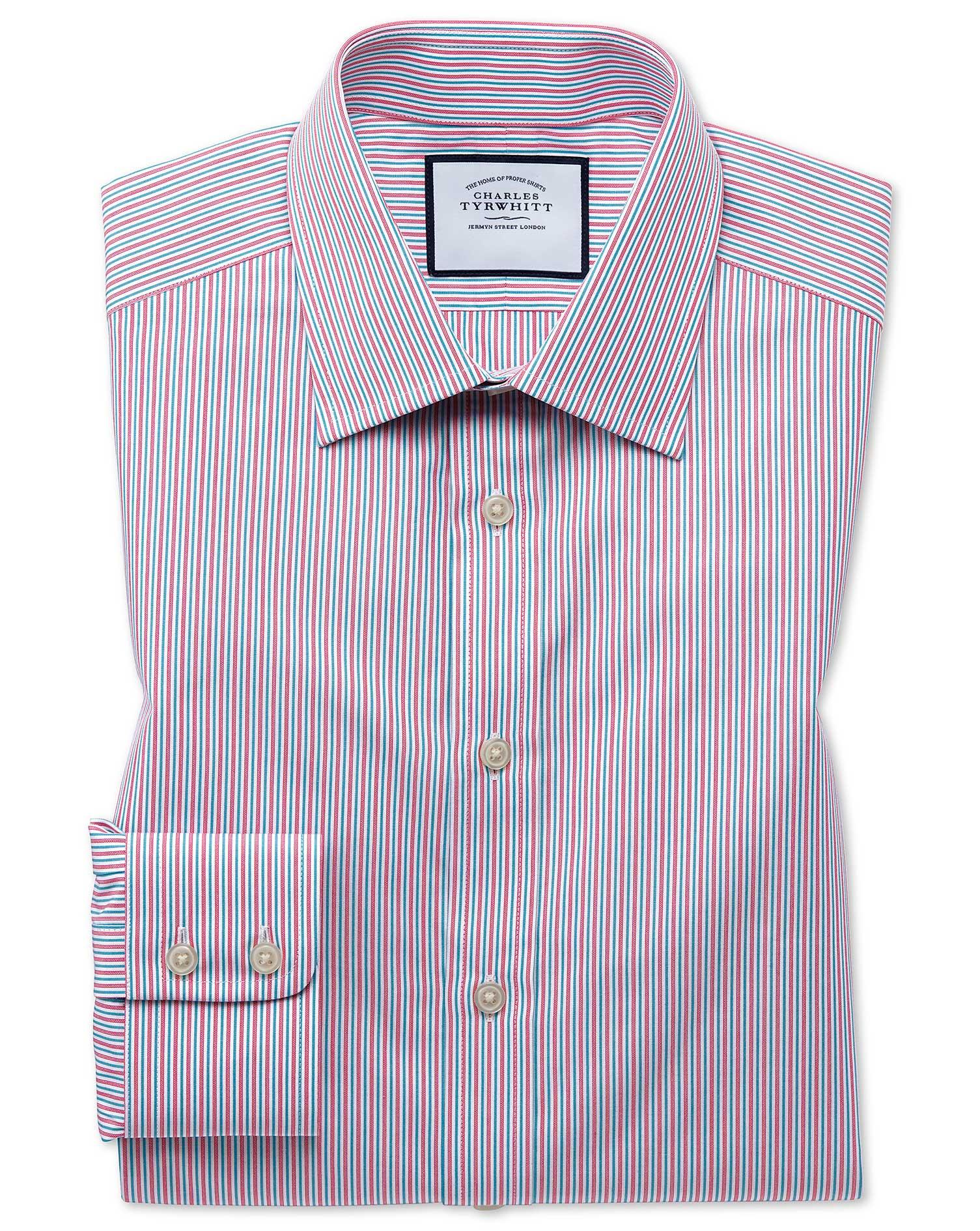 Slim Fit Egyptian Cotton Poplin Multi Pink Stripe Formal Shirt Single Cuff Size 18/37 by Charles Tyr