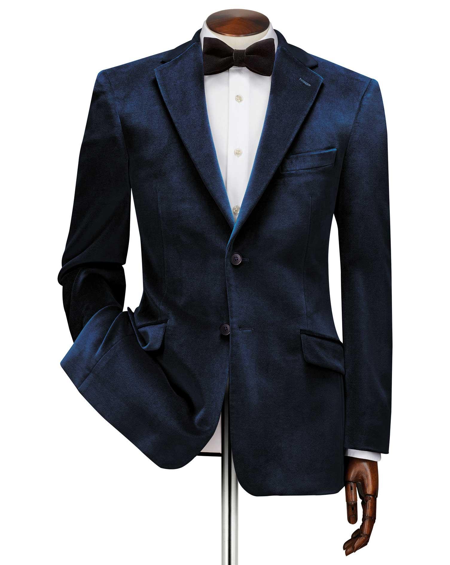 Slim Fit Teal Velvet Cotton Jacket Size 46 Regular by Charles Tyrwhitt