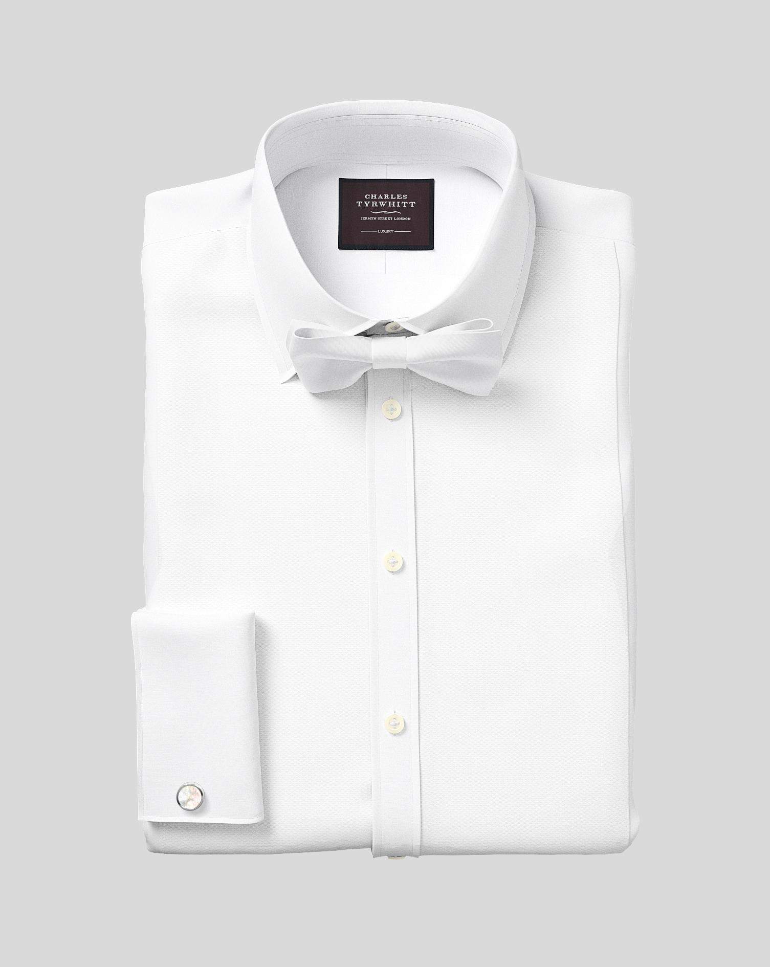 Slim fit luxury marcella bib front white tuxedo shirt for Extra slim tuxedo shirt