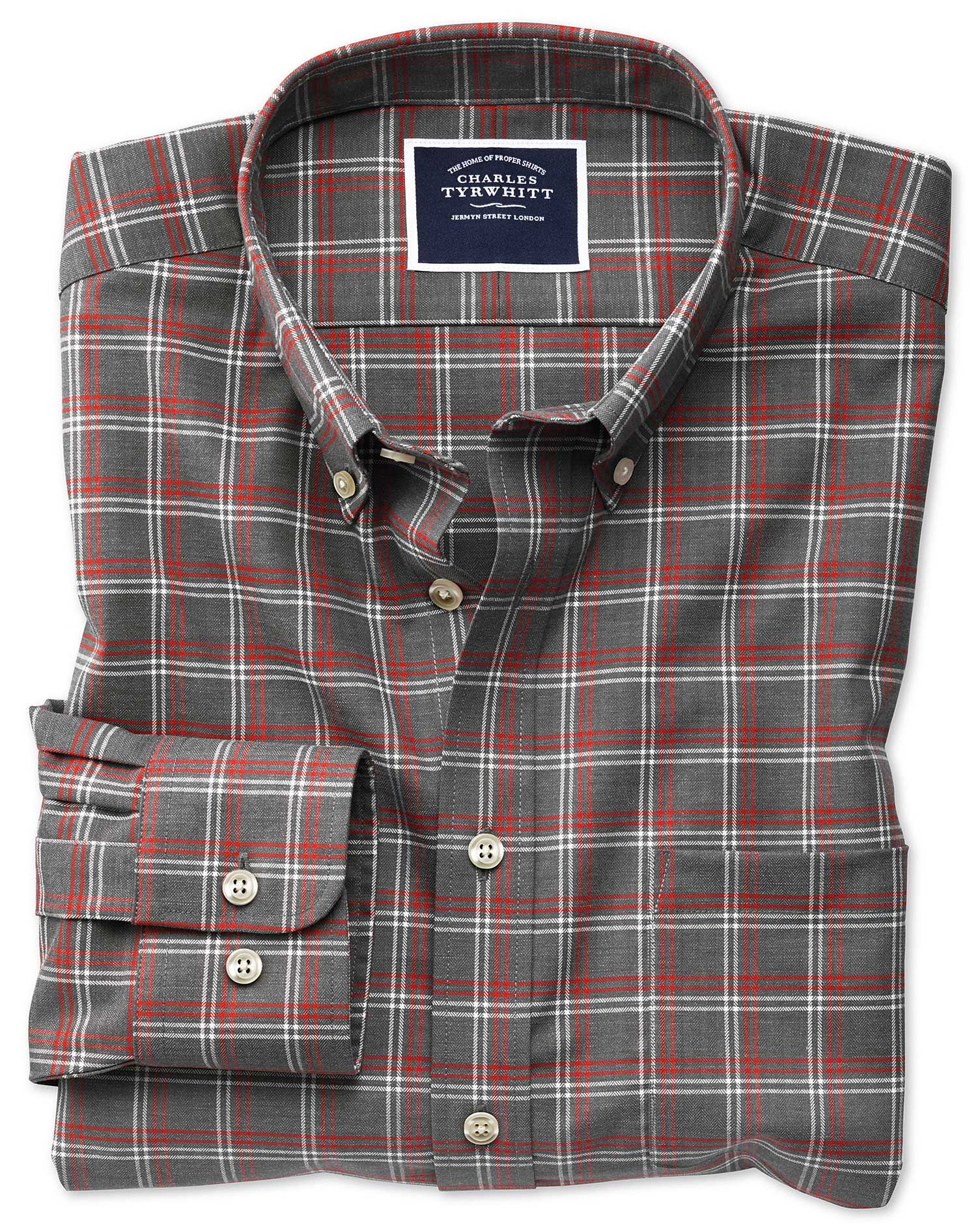 e5f1ee57f3e5 ... Classic fit non-iron grey check twill shirt. Previous. Clearance