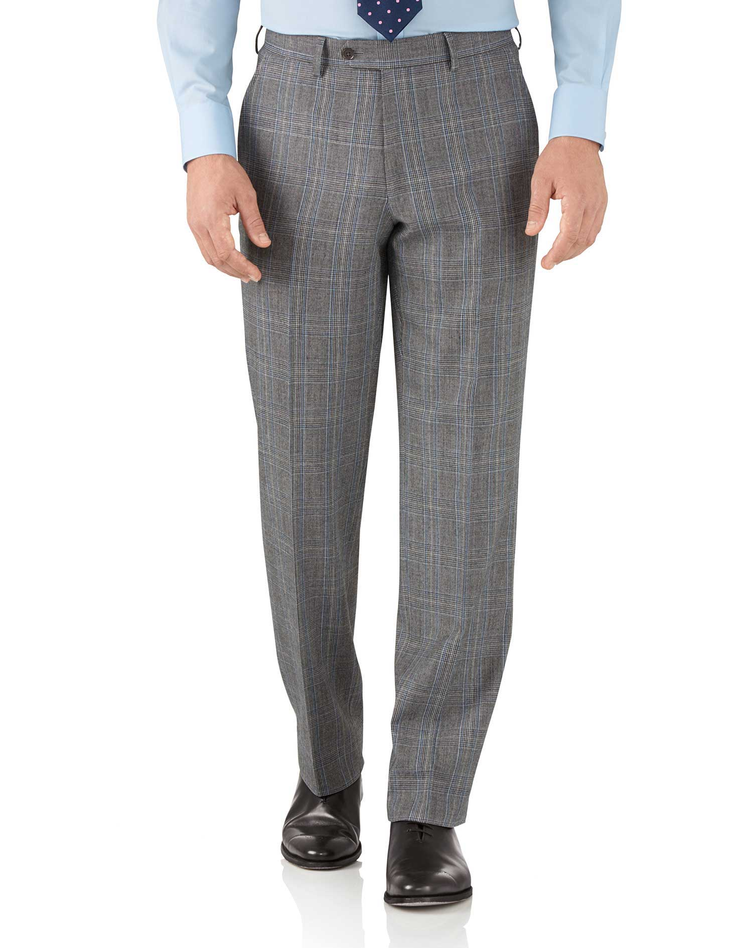 Silver Prince Of Wales Classic Fit Flannel Business Suit Trousers Size W40 L32 by Charles Tyrwhitt